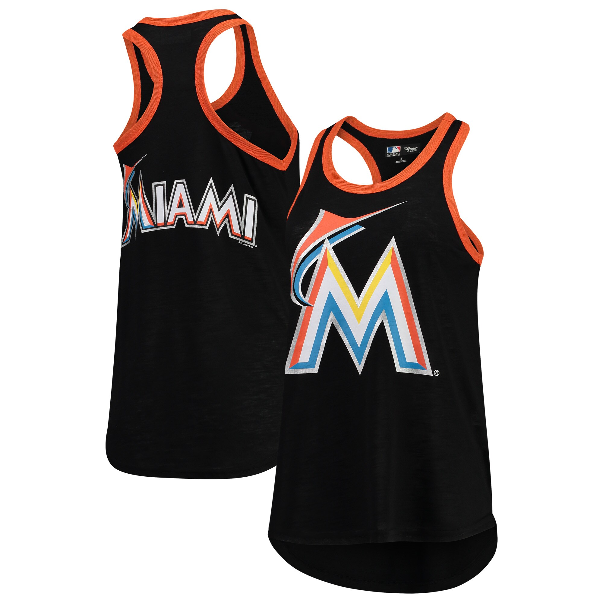 Miami Marlins G-III 4Her by Carl Banks Women's Team Color Tater Tank Top - Black