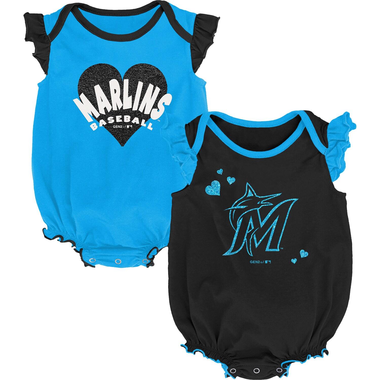 Miami Marlins Girls Newborn & Infant Double Trouble Two-Pack Bodysuit Set - Black/Blue