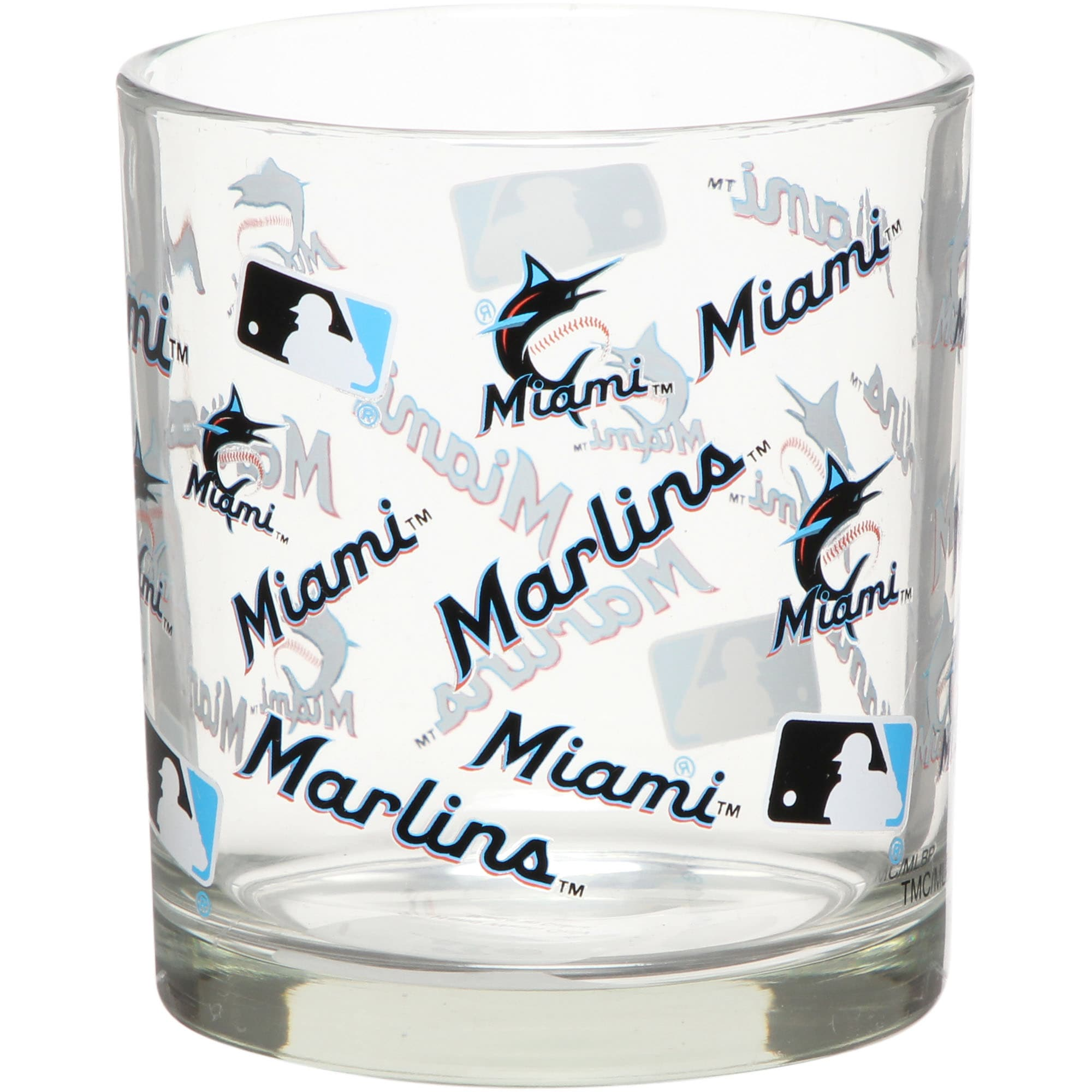 Miami Marlins Full Wrap Rocks Glass