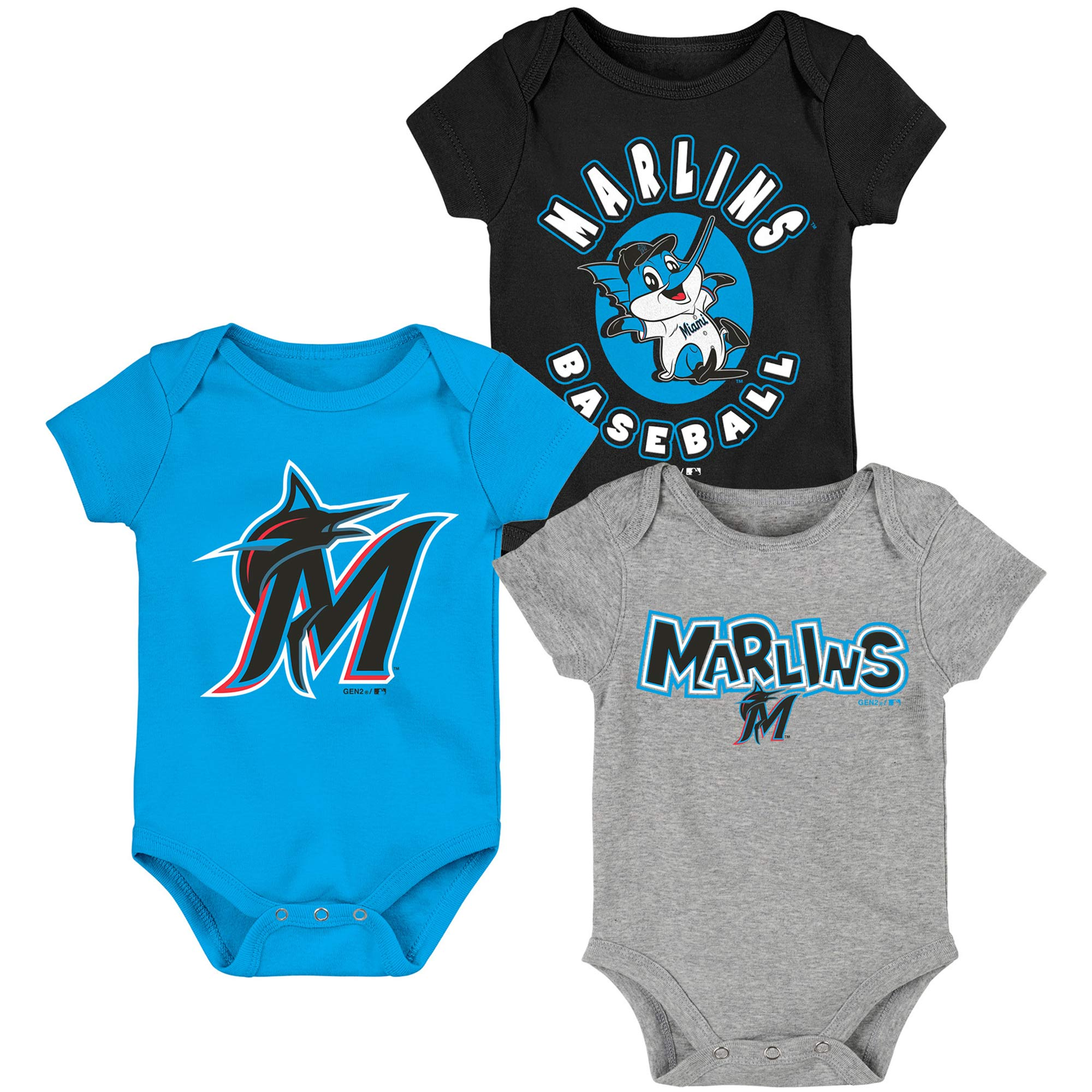 Miami Marlins Infant Everyday Fan Three-Pack Bodysuit Set - Black/Blue/Gray