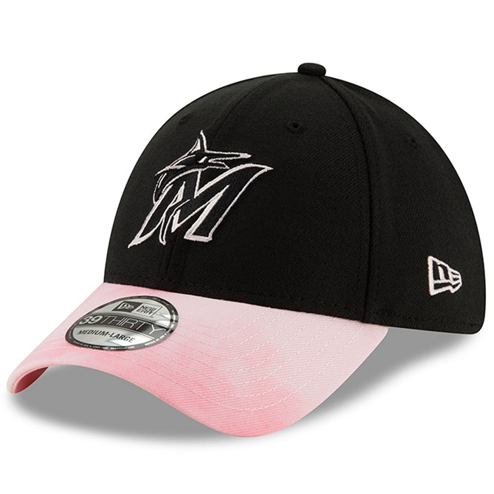 Miami Marlins New Era Mother's Day 39THIRTY Flex Hat - Black/Pink