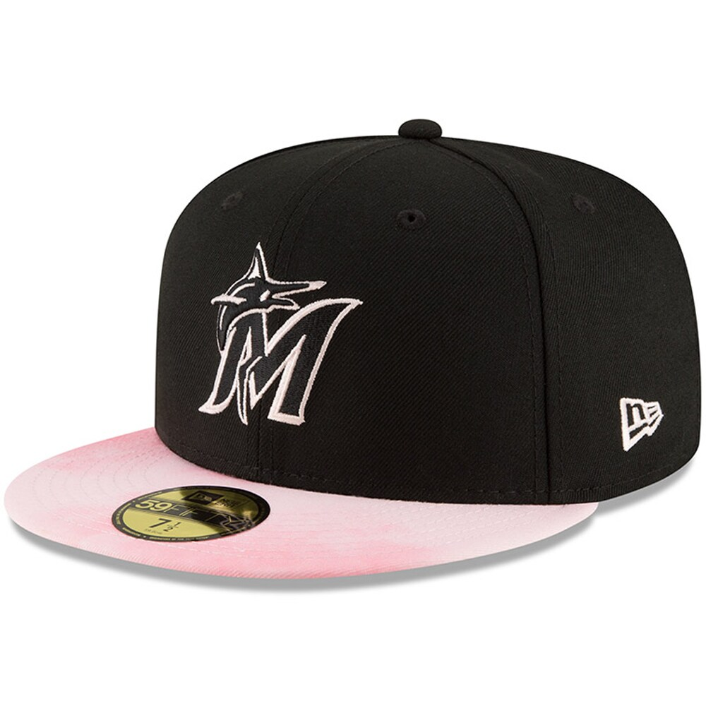 Miami Marlins New Era Mother's Day On-Field 59FIFTY Fitted Hat - Black/Pink