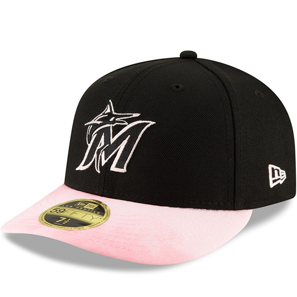 Miami Marlins New Era Mother's Day On-Field Low Profile 59FIFTY Fitted Hat - Black/Pink