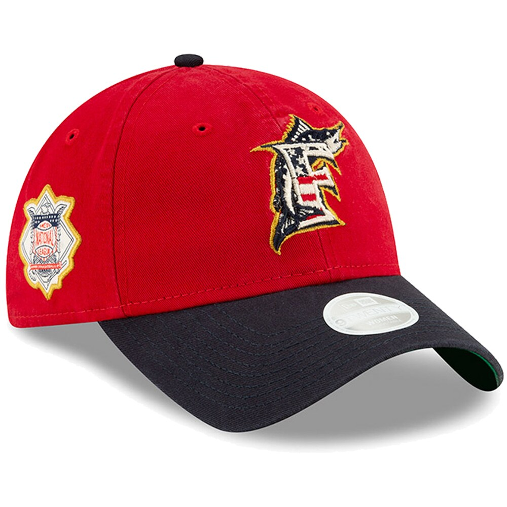 Miami Marlins New Era Women's Stars & Stripes 4th of July 9TWENTY Adjustable Hat - Red/Navy
