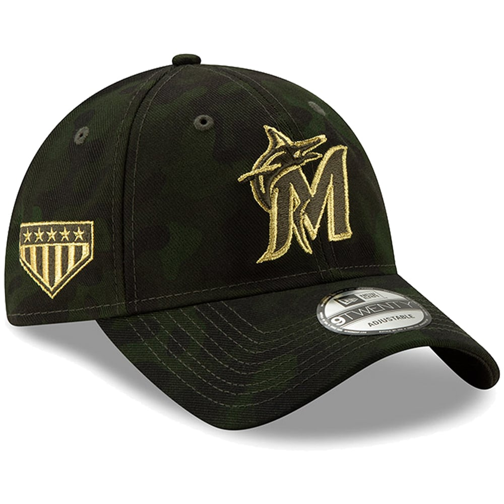 Miami Marlins New Era MLB Armed Forces Day 9TWENTY Adjustable Hat - Camo