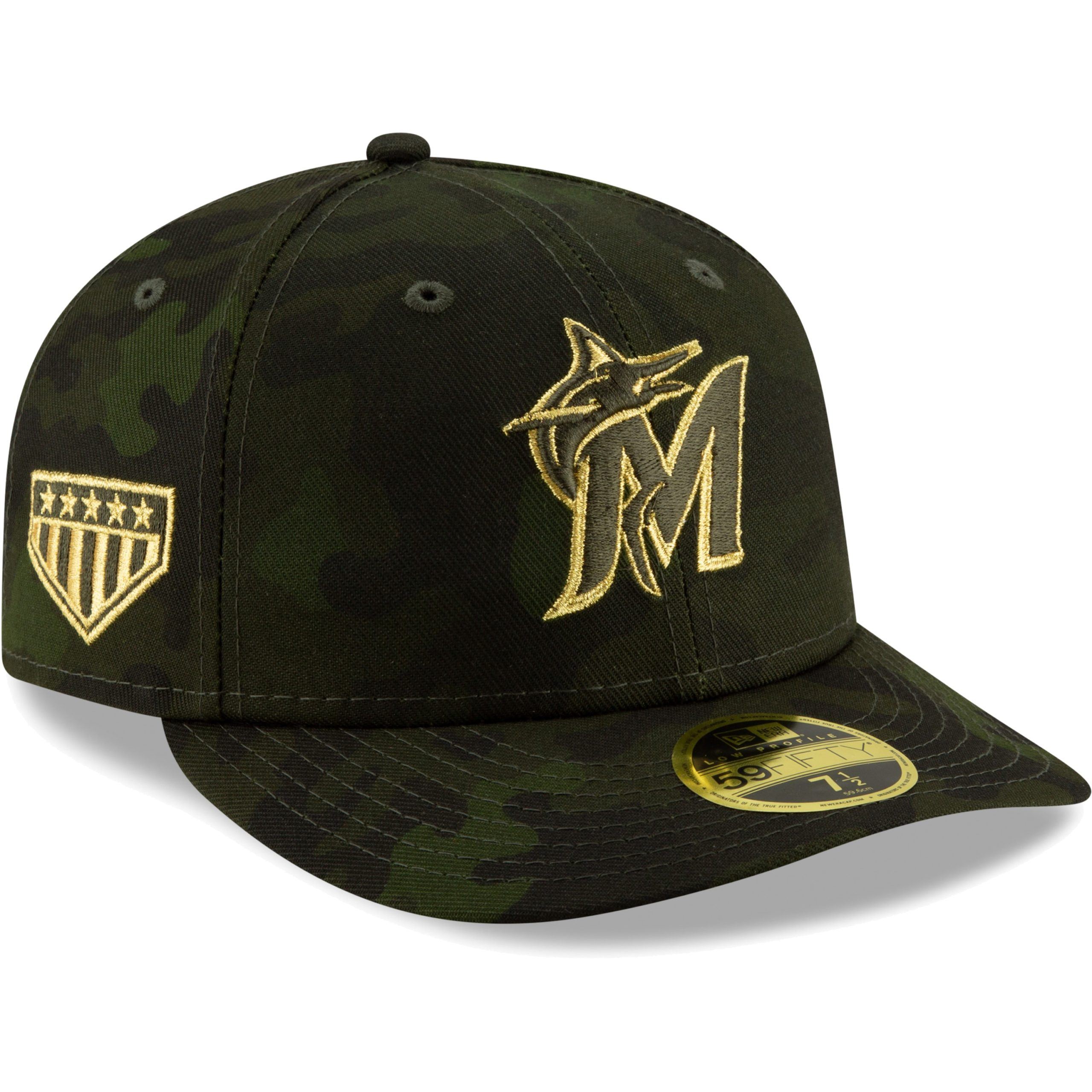 Miami Marlins New Era MLB Armed Forces Day On-Field Low Profile 59FIFTY Fitted Hat - Camo