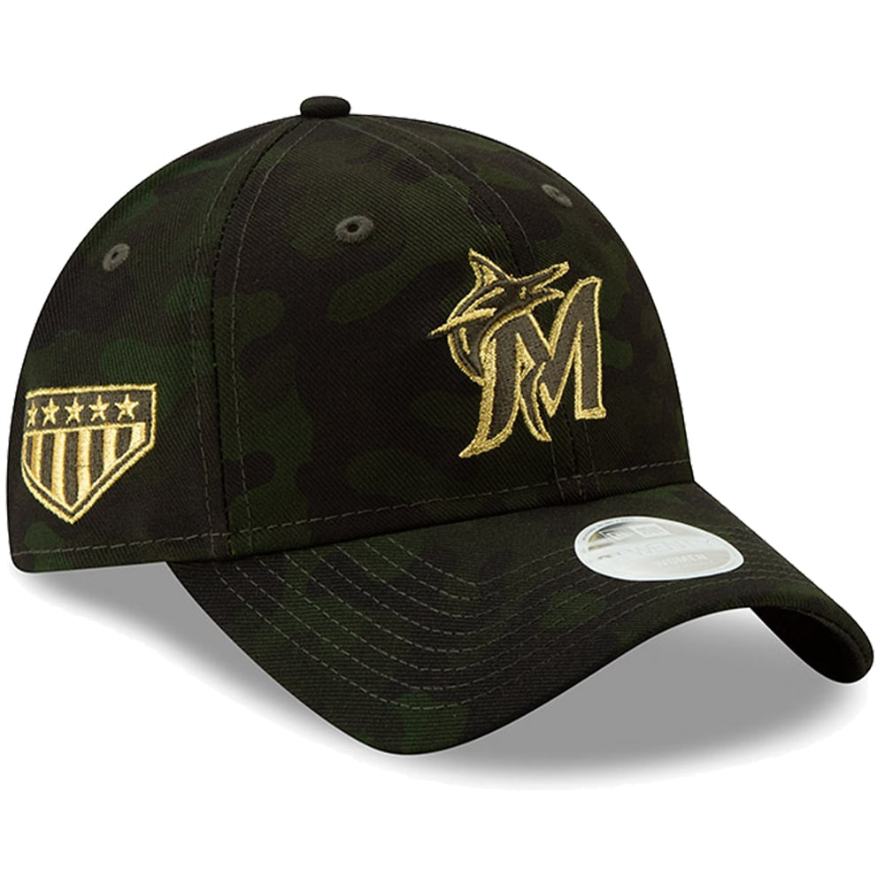 Miami Marlins New Era Women's MLB Armed Forces Day 9TWENTY Adjustable Hat - Camo