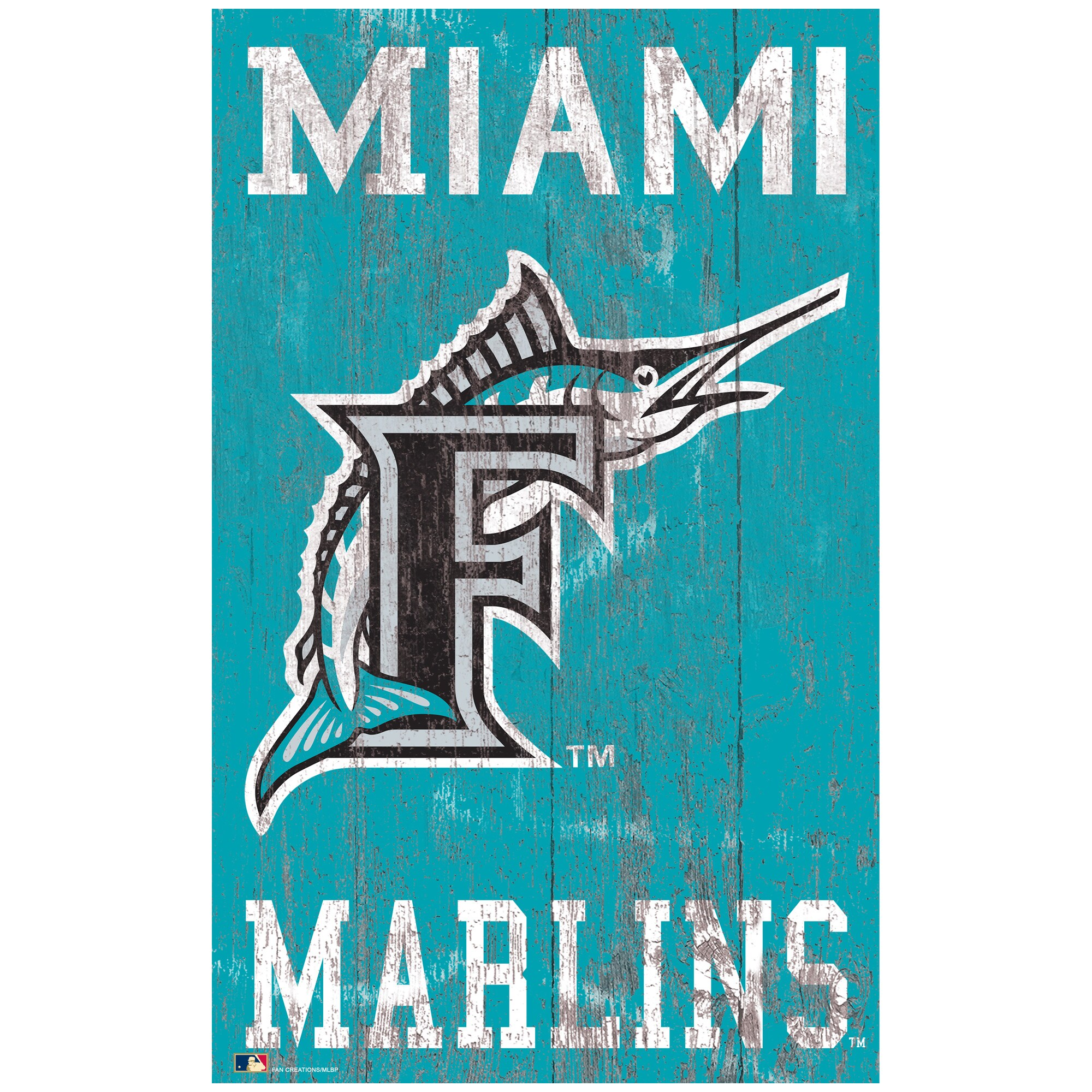 Miami Marlins 11'' x 19'' Heritage Distressed Logo Sign