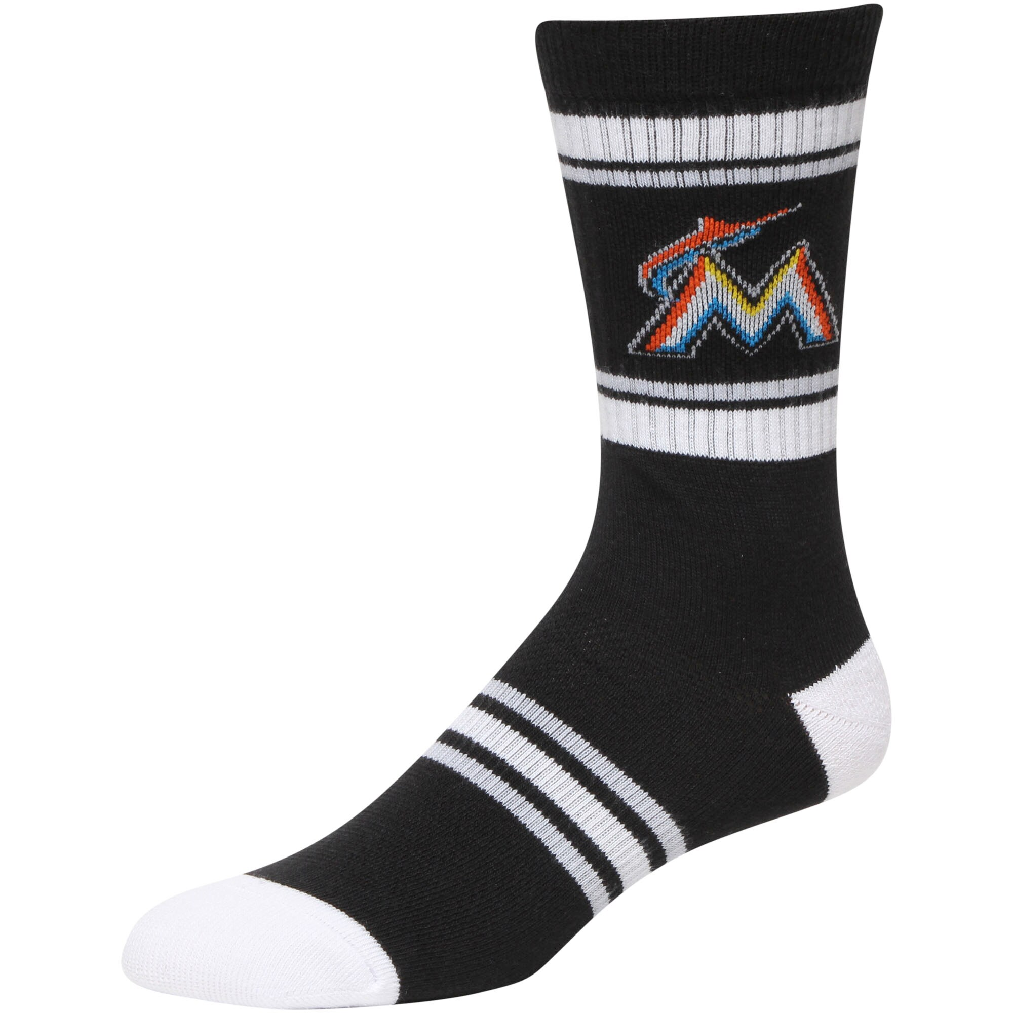 Miami Marlins Stripe Crew Socks - Black/White