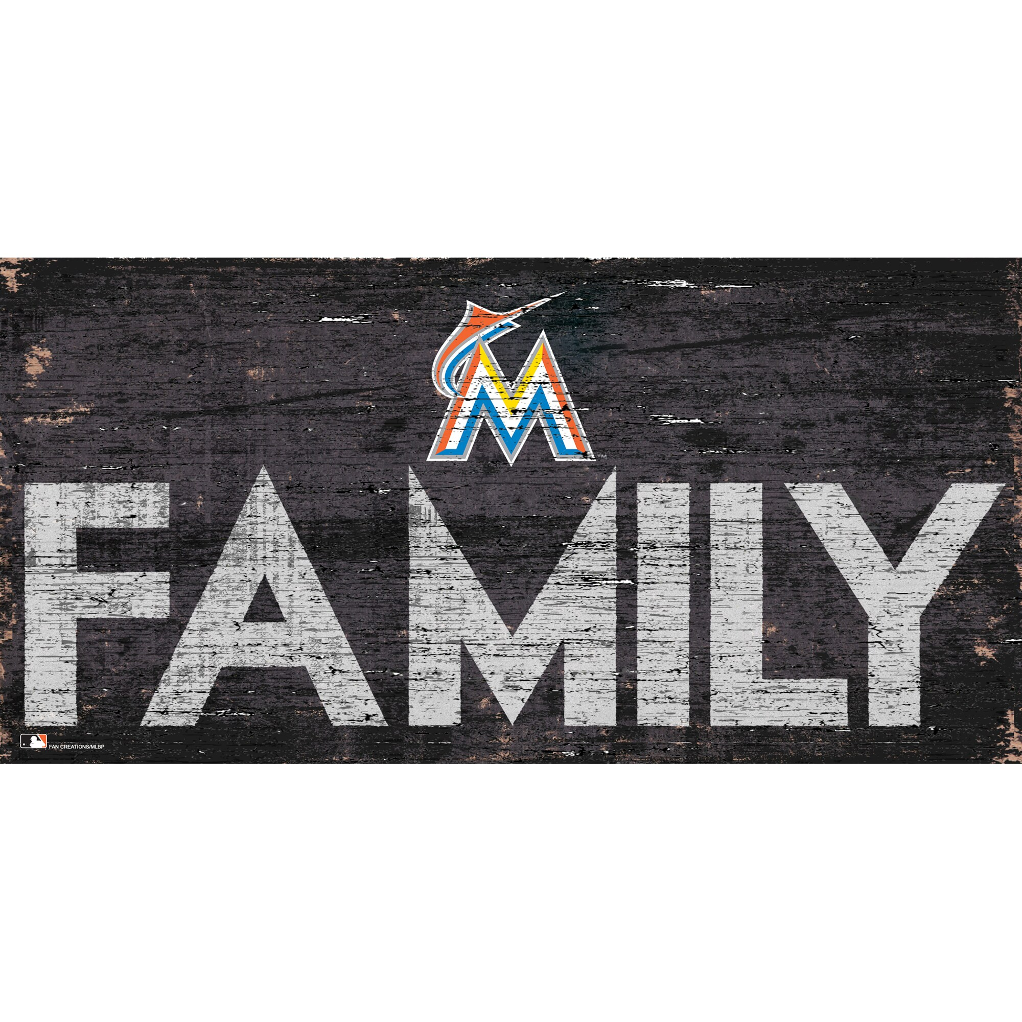 Miami Marlins 12'' x 6'' Family Sign