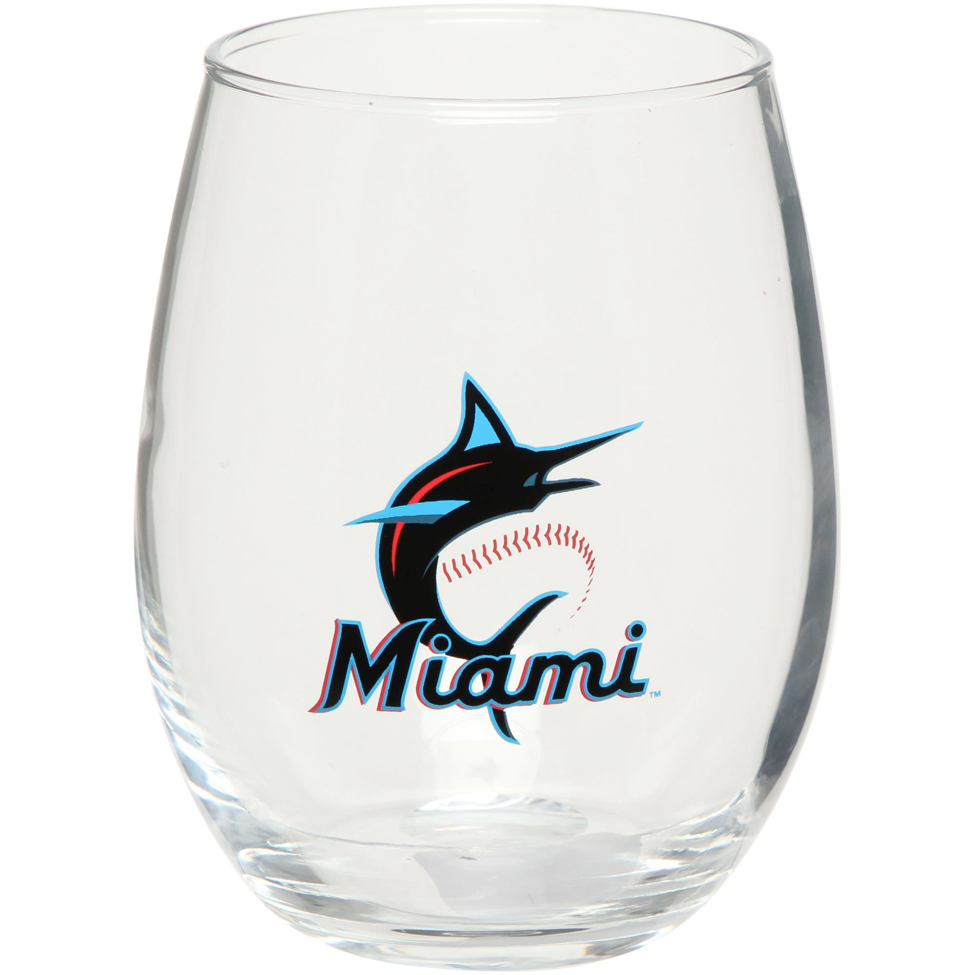 Miami Marlins 15oz. Team Logo Stemless Wine Glass