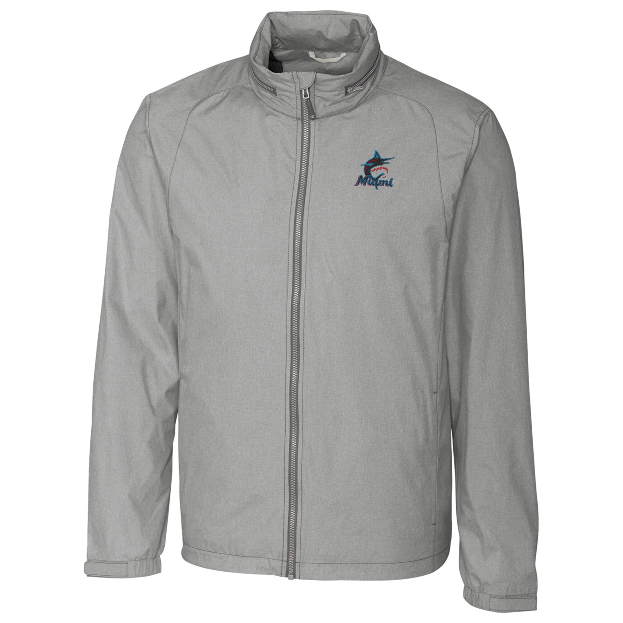 Miami Marlins Cutter & Buck Panoramic Packable Full-Zip Jacket - Heather Gray