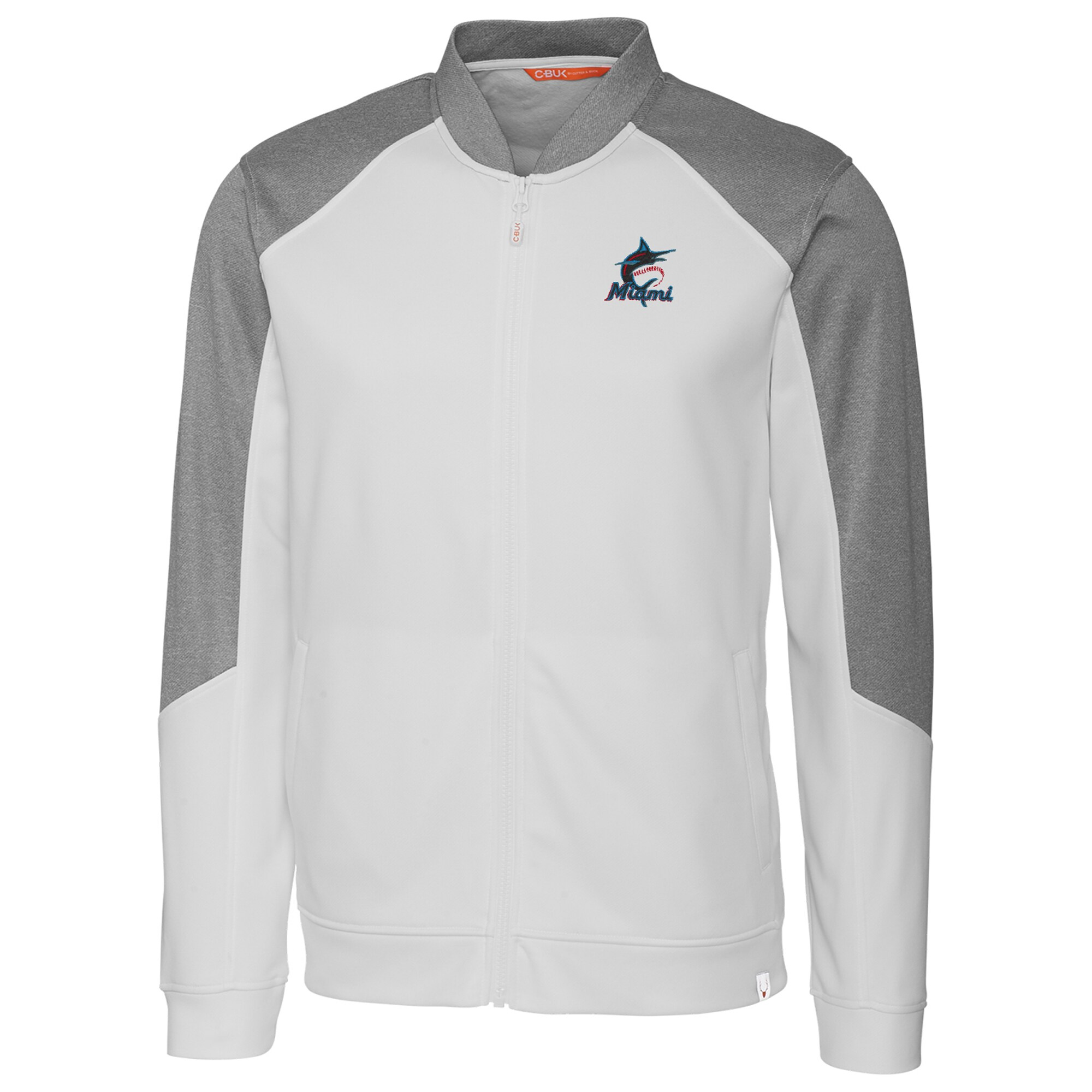 Miami Marlins Cutter & Buck Pop Fly Full-Zip Jacket - White