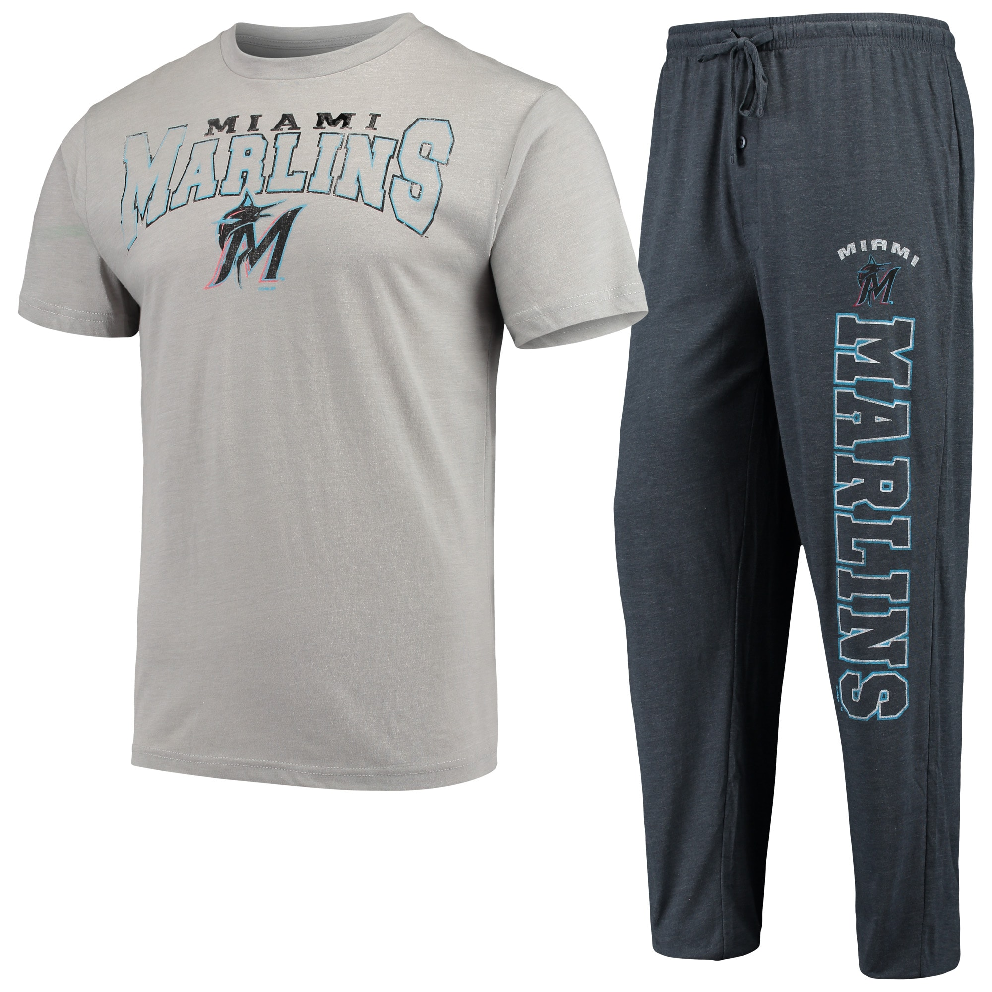 Miami Marlins Concepts Sport Topic T-Shirt & Pants Sleep Set - Heathered Gray/Charcoal