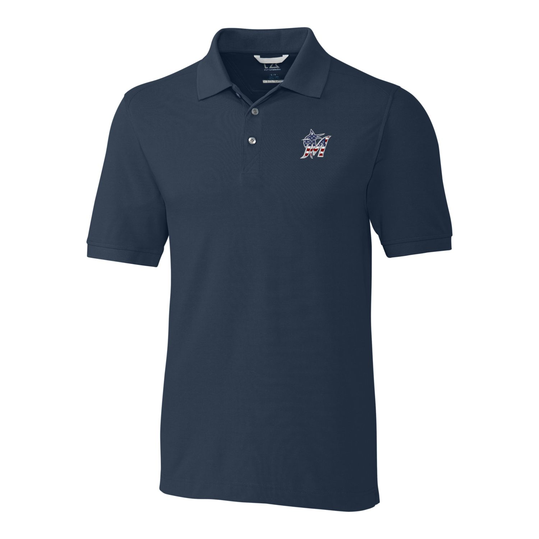Miami Marlins Cutter & Buck Stars & Stripes Advantage Polo - Navy