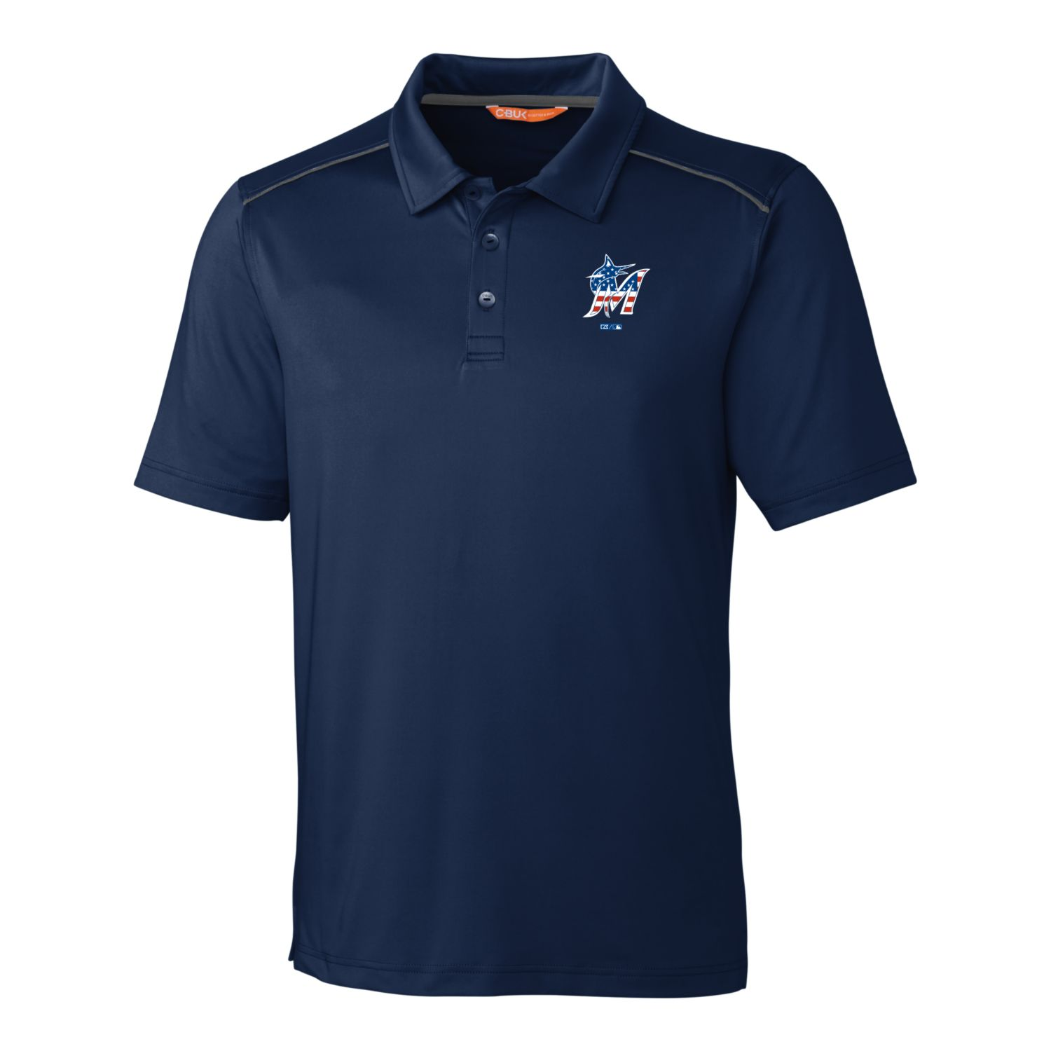 Miami Marlins Cutter & Buck Stars & Stripes Chance Polo - Navy