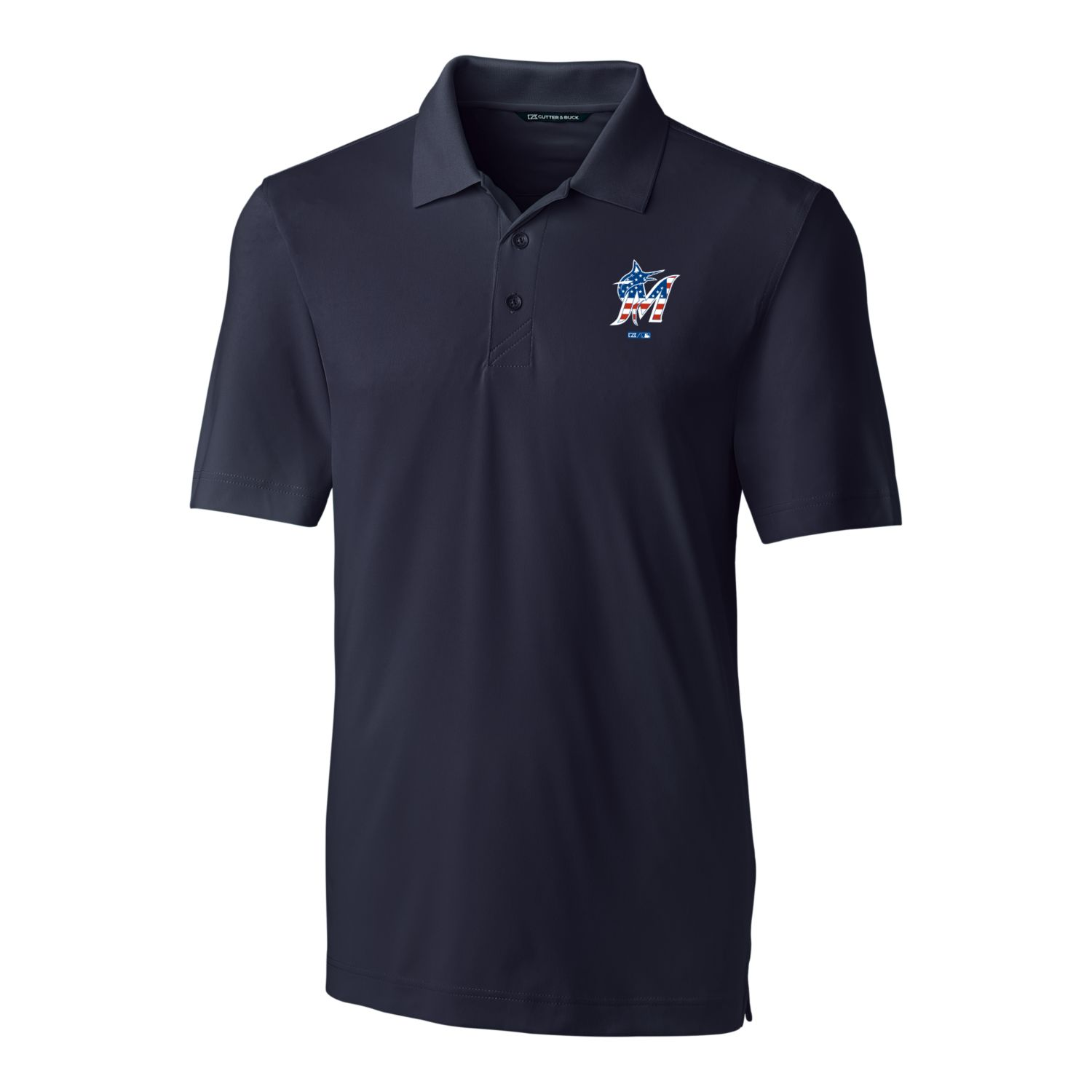 Miami Marlins Cutter & Buck Stars & Stripes Forge Polo - Navy