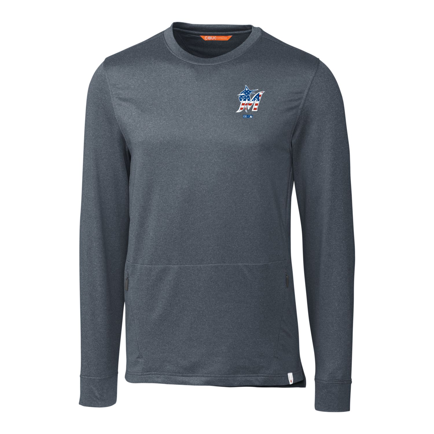 Miami Marlins Cutter & Buck Stars & Stripes Jackson Pullover Sweater - Navy