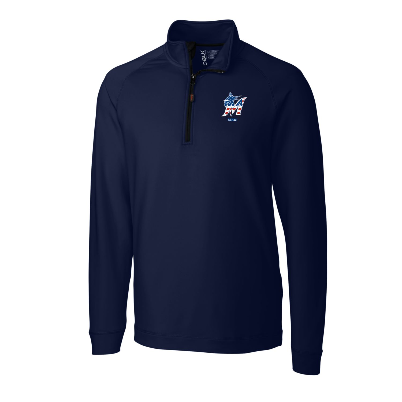 Miami Marlins Cutter & Buck Stars & Stripes Jackson Half-Zip Overknit Pullover Jacket - Navy