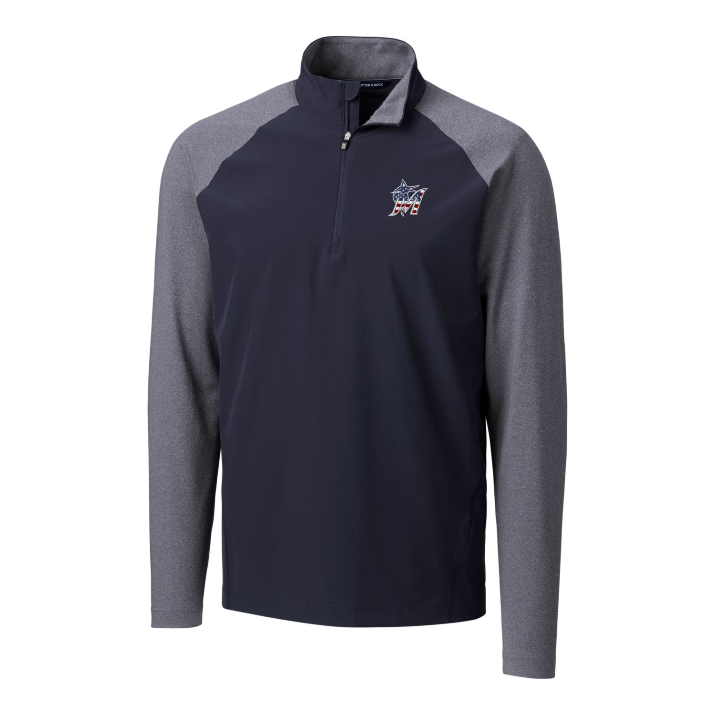 Miami Marlins Cutter & Buck Stars & Stripes Hybrid Overknit Quarter-Zip Pullover Jacket - Navy