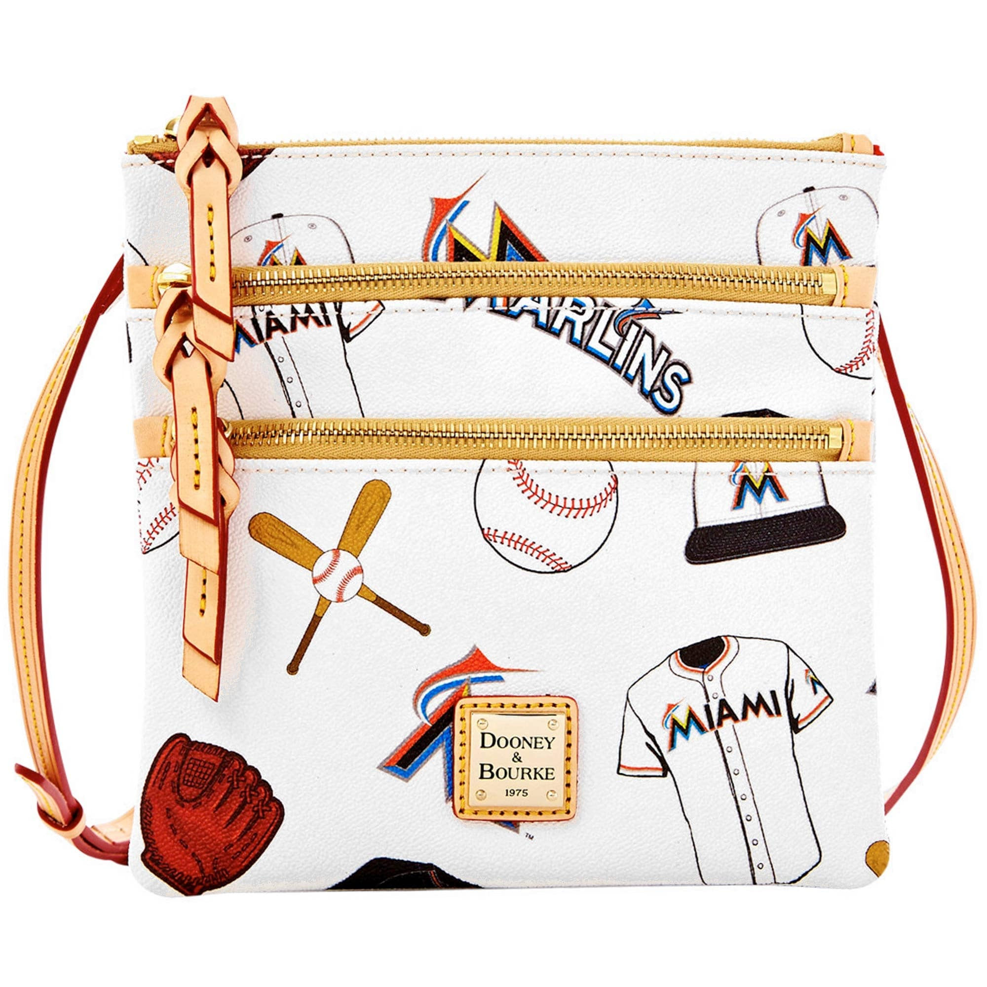 Miami Marlins Dooney & Bourke Women's Triple Zip Crossbody Purse