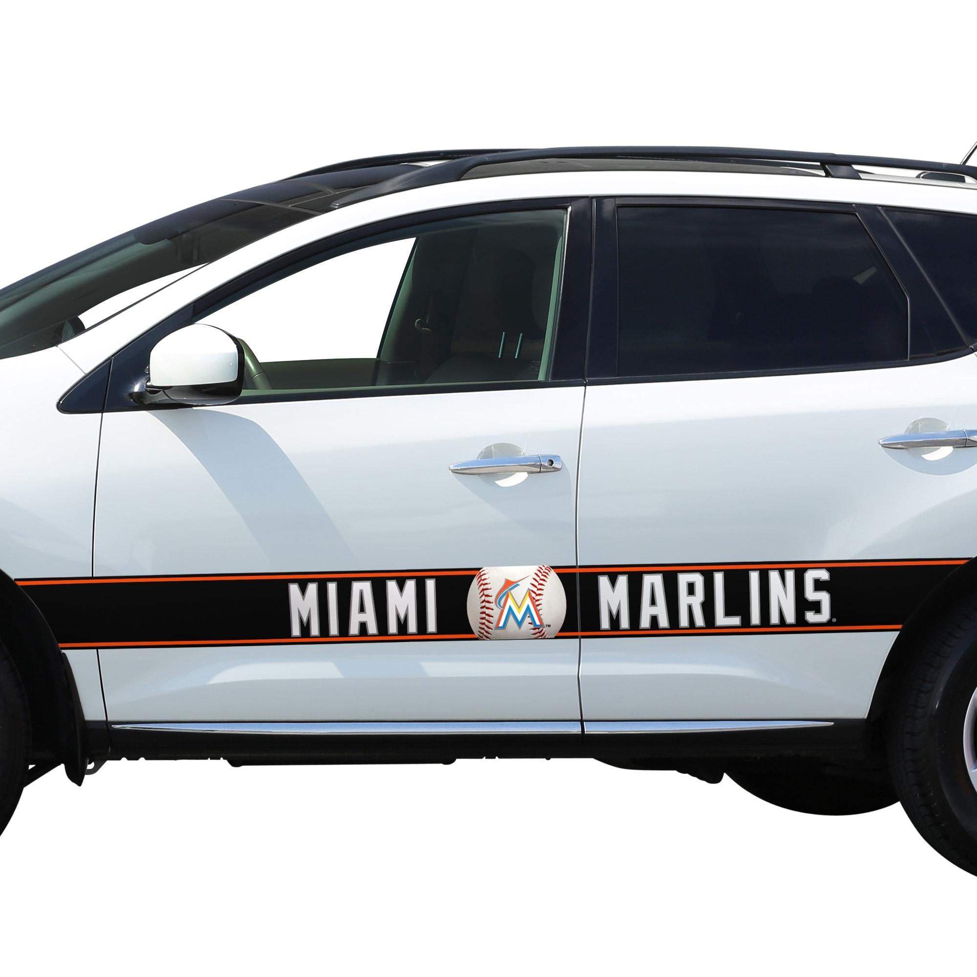Miami Marlins Team Ball Racing Stripe Car Decals
