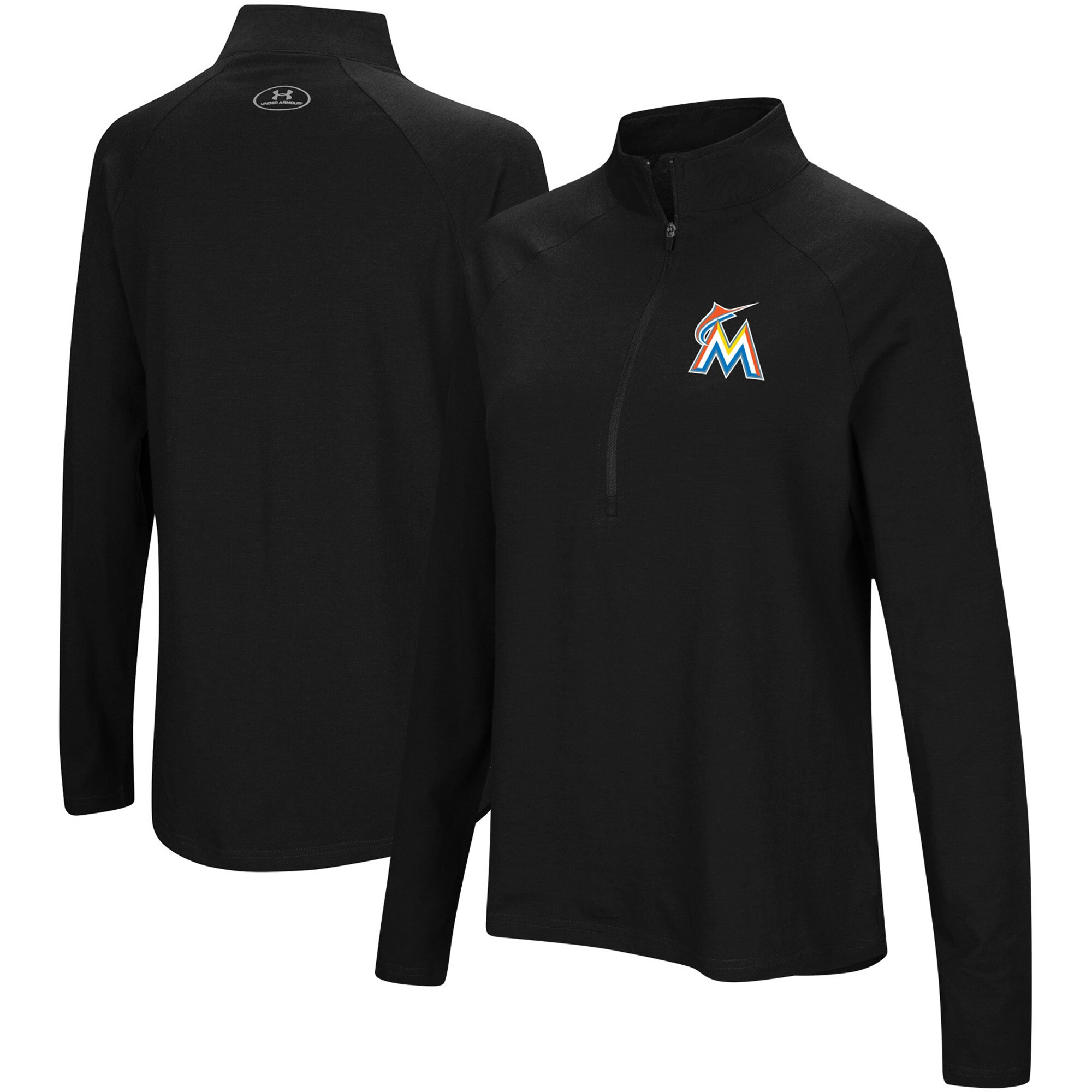 Miami Marlins Under Armour Women's Passion Performance Tri-Blend Raglan Half-Zip Pullover Jacket - Black