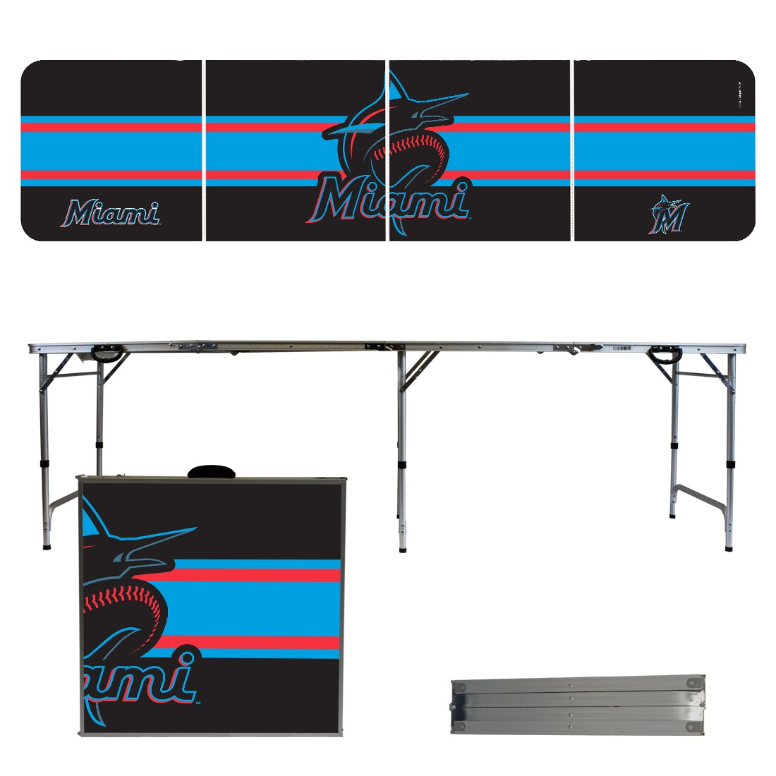Miami Marlins Striped Design 8' Portable Folding Tailgate Table