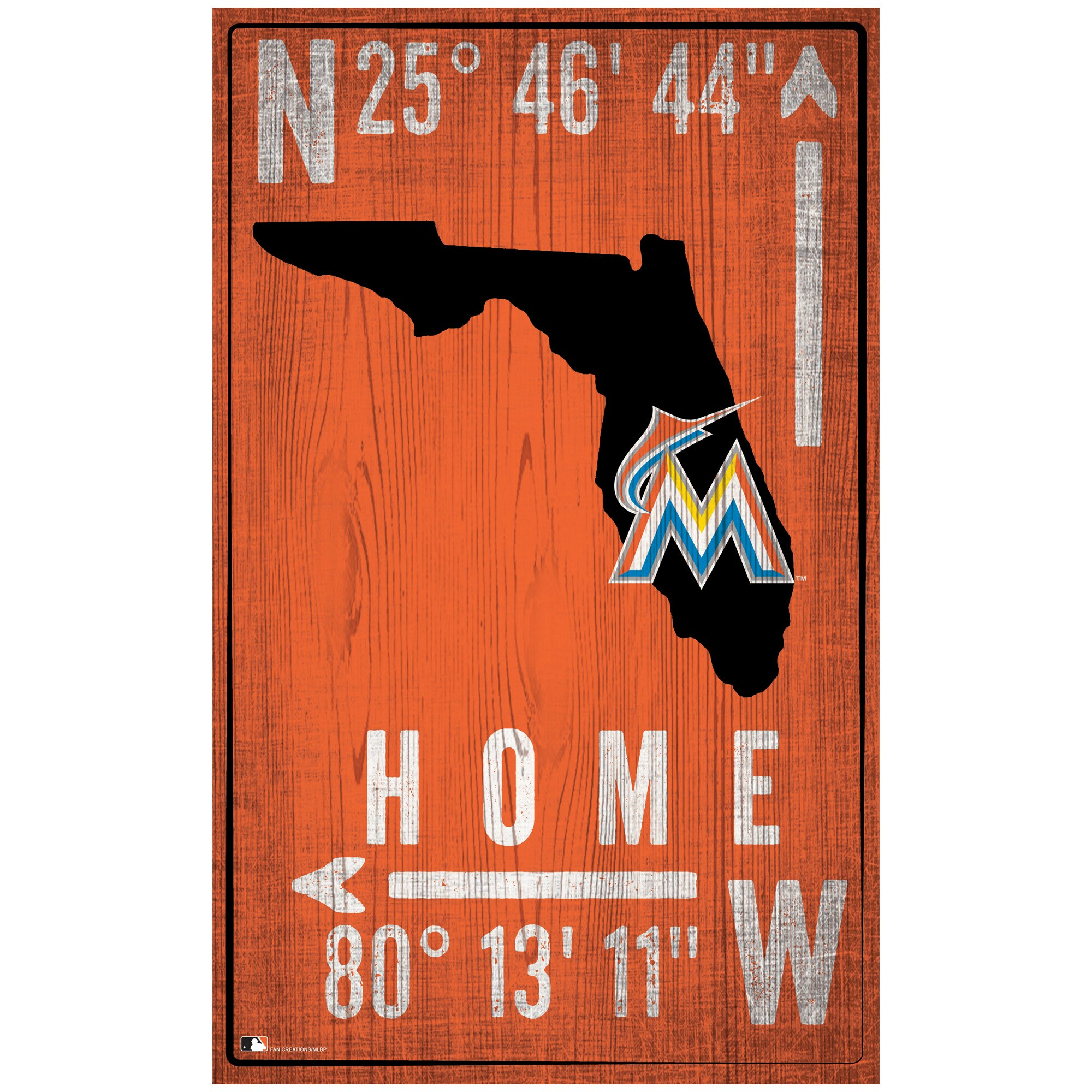 "Miami Marlins 11"" x 19"" Coordinate Sign"