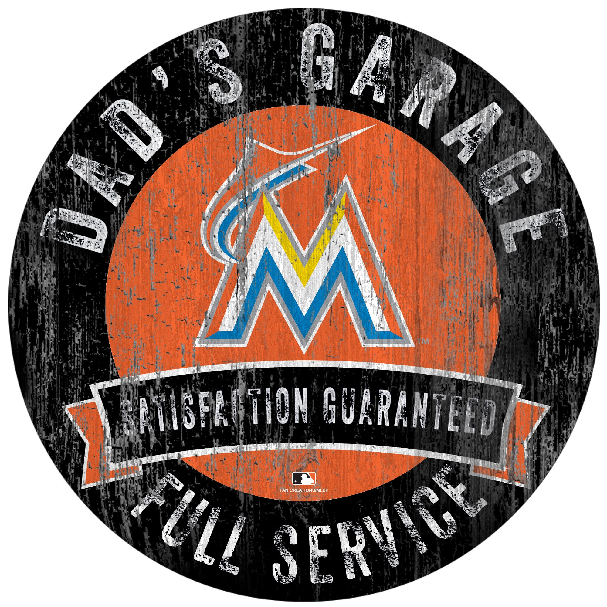 "Miami Marlins 12"" x 12"" Dad's Garage Sign"