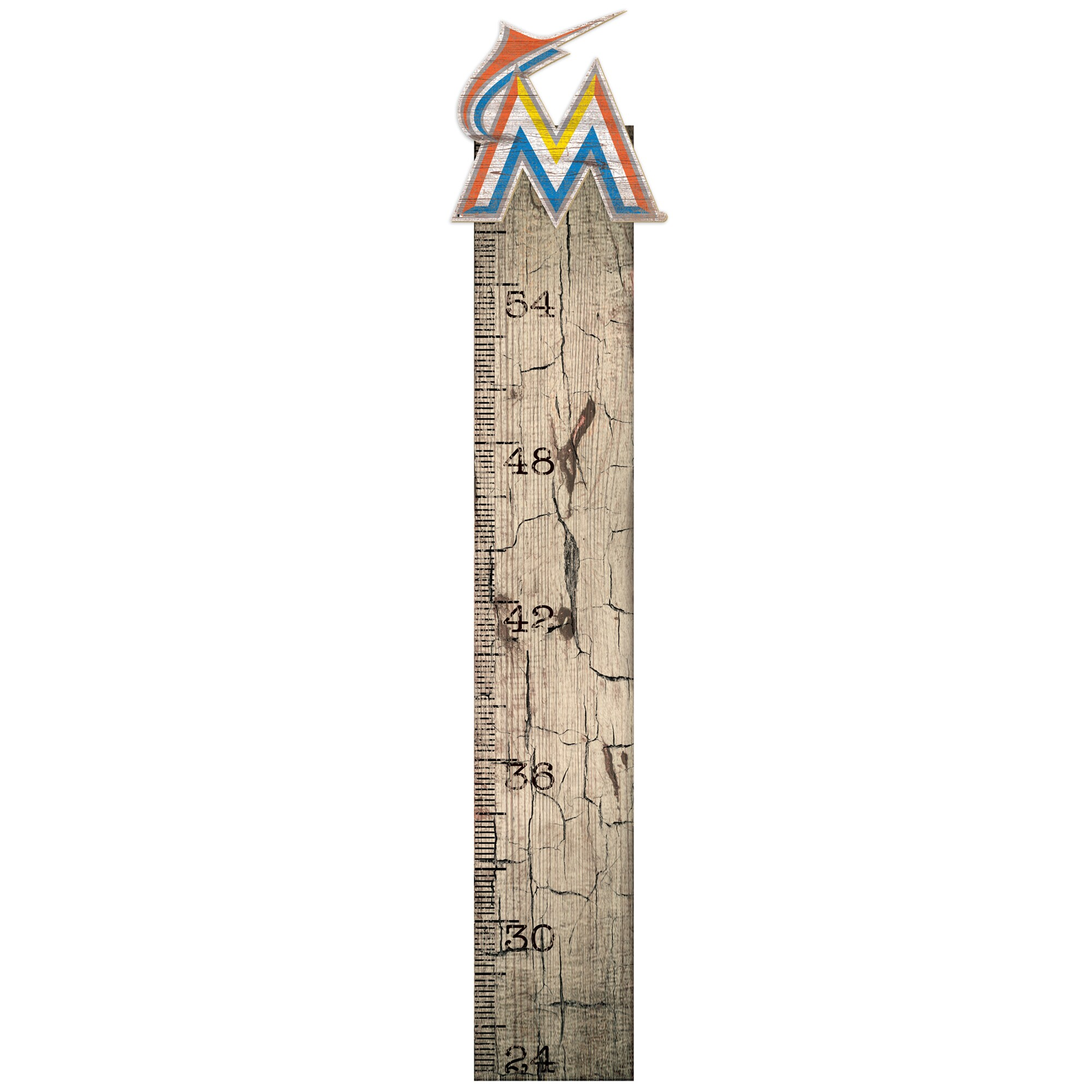 "Miami Marlins 6"" x 36"" Growth Chart Sign"