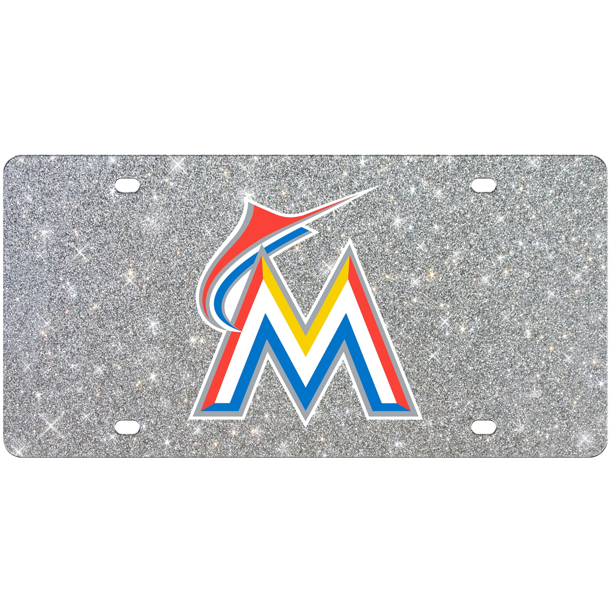 Miami Marlins WinCraft Acrylic Glitter License Plate