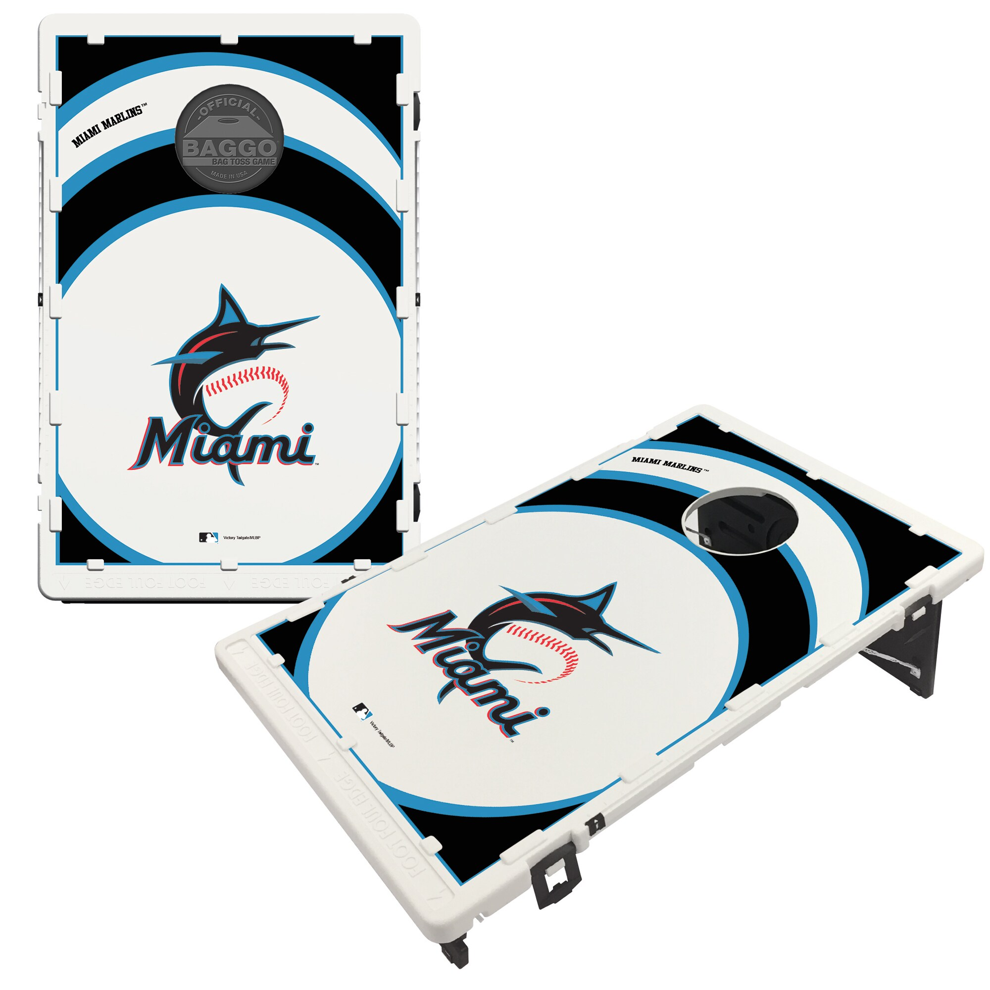 Miami Marlins 2' x 3' BAGGO Vortex Cornhole Board Tailgate Toss Set
