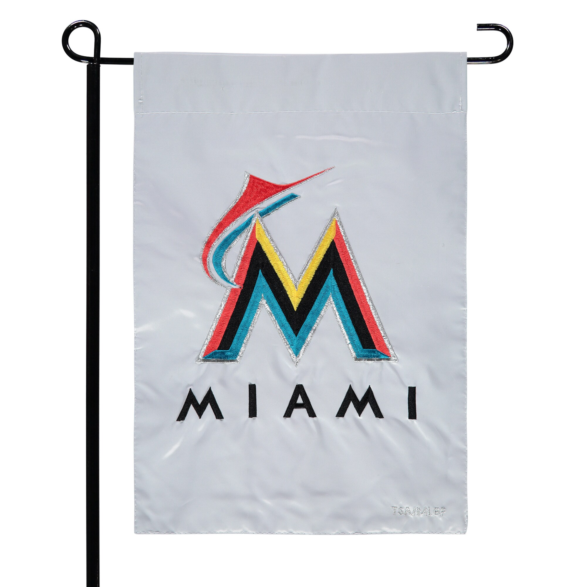 "Miami Marlins 12.5"" x 19"" Applique Double-Sided Garden Flag"