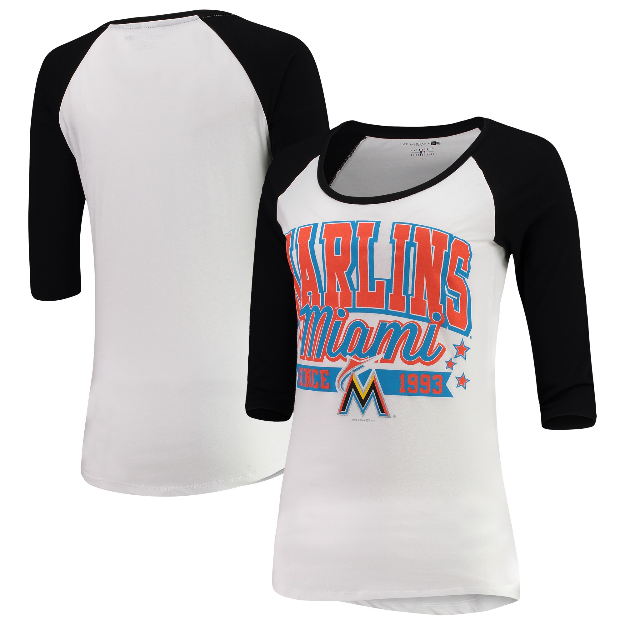 Miami Marlins 5th & Ocean by New Era Women's Team Banner 3/4-Sleeve Raglan T-Shirt - White/Black