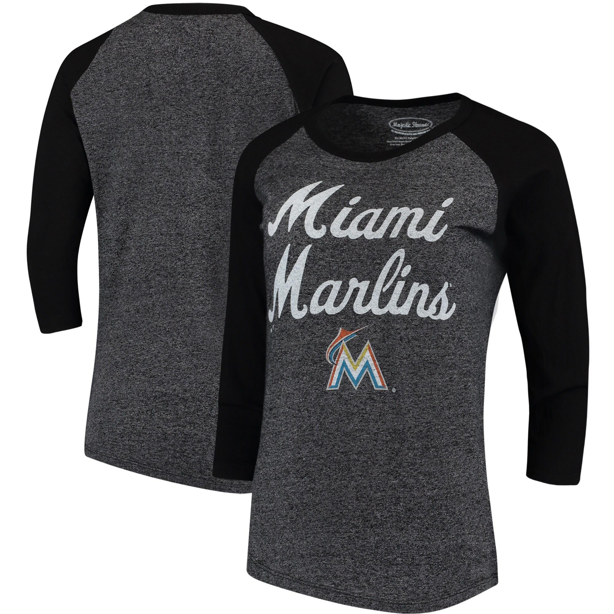 Miami Marlins Majestic Threads Women's 3/4-Sleeve Raglan T-Shirt - Black