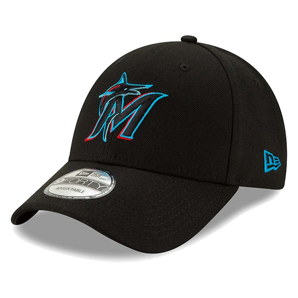 Miami Marlins New Era The League 9FORTY Adjustable Hat - Black