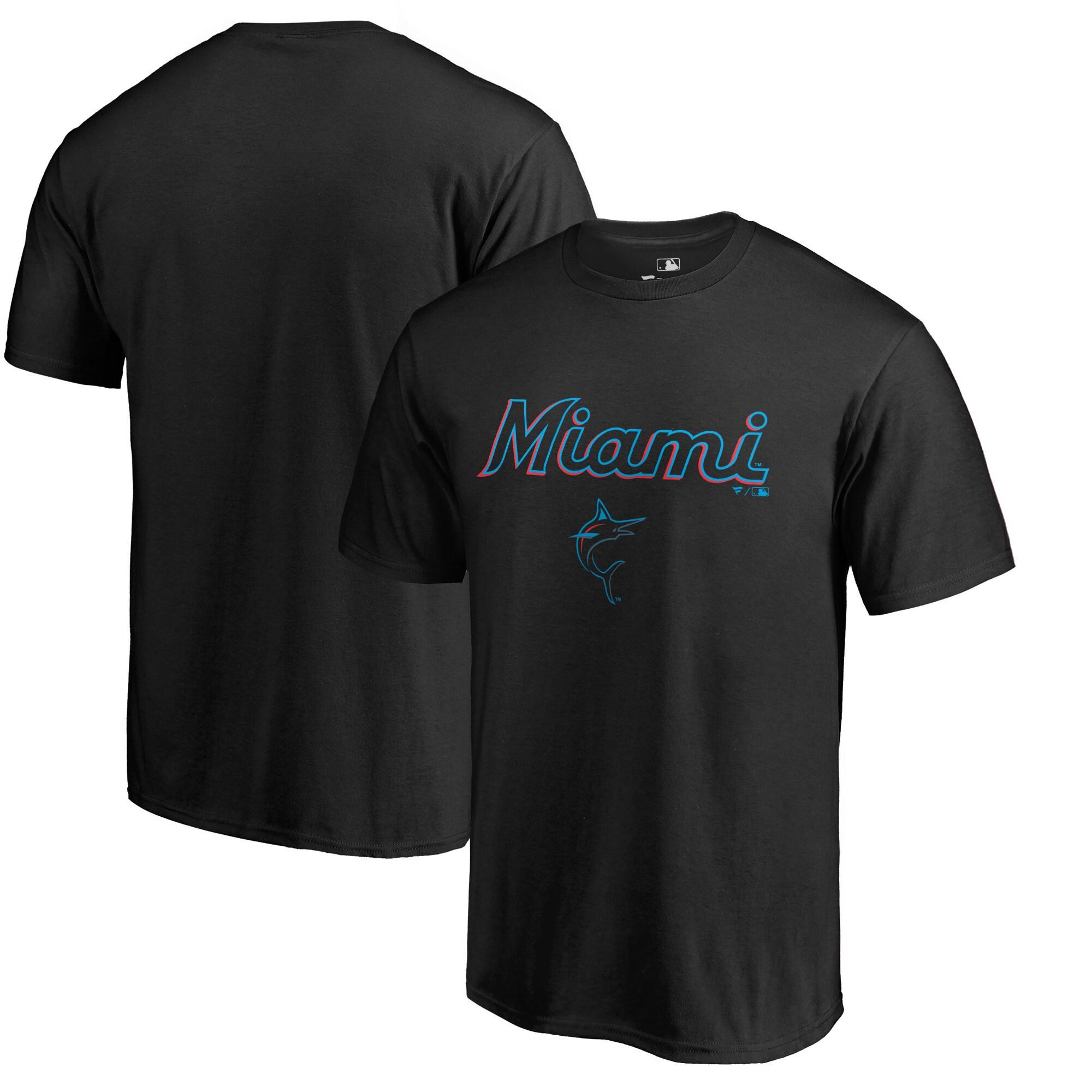 Miami Marlins Fanatics Branded Big & Tall Team Lockup T-Shirt - Black