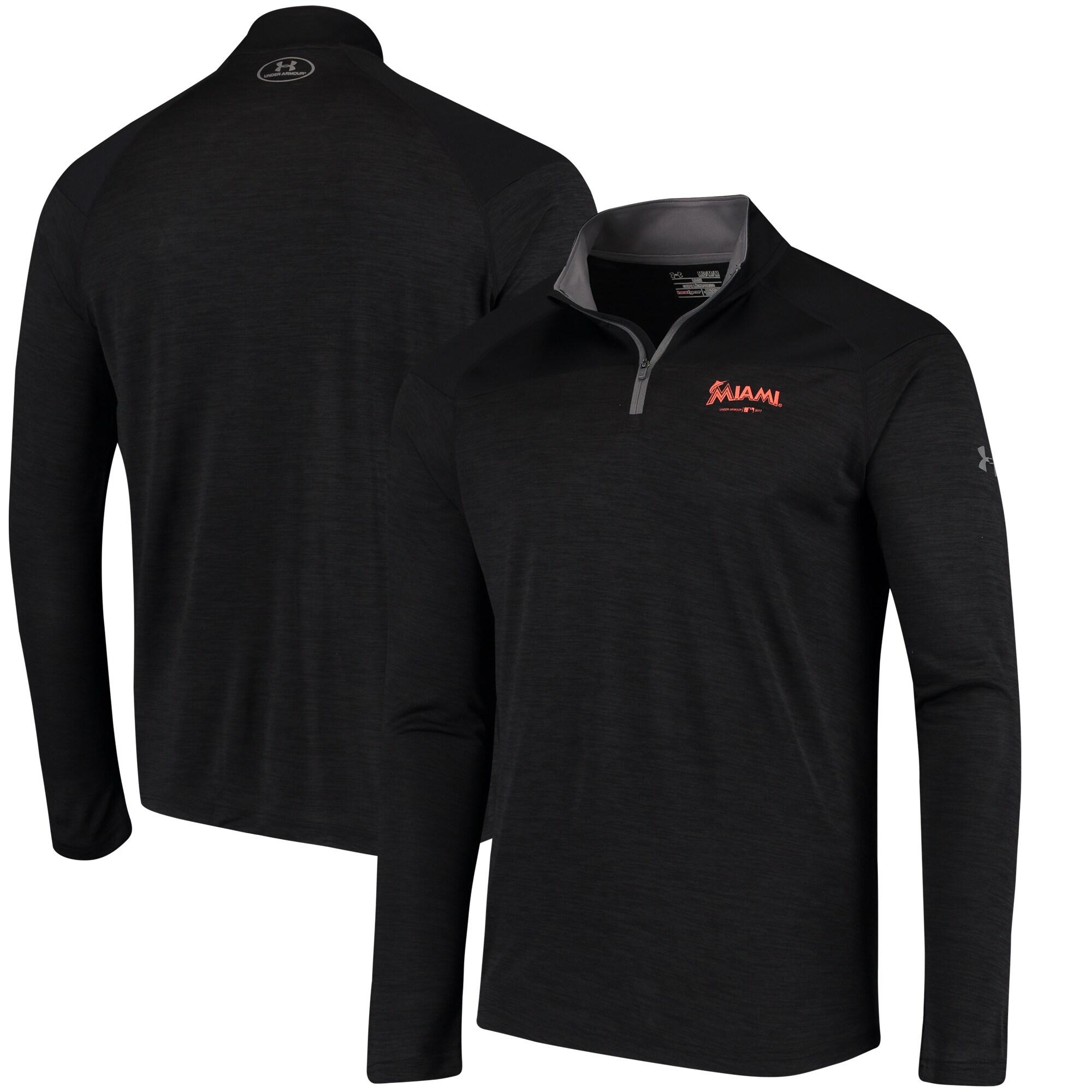 Miami Marlins Under Armour Tech Tonal Twist Quarter-Zip Pullover Jacket - Black