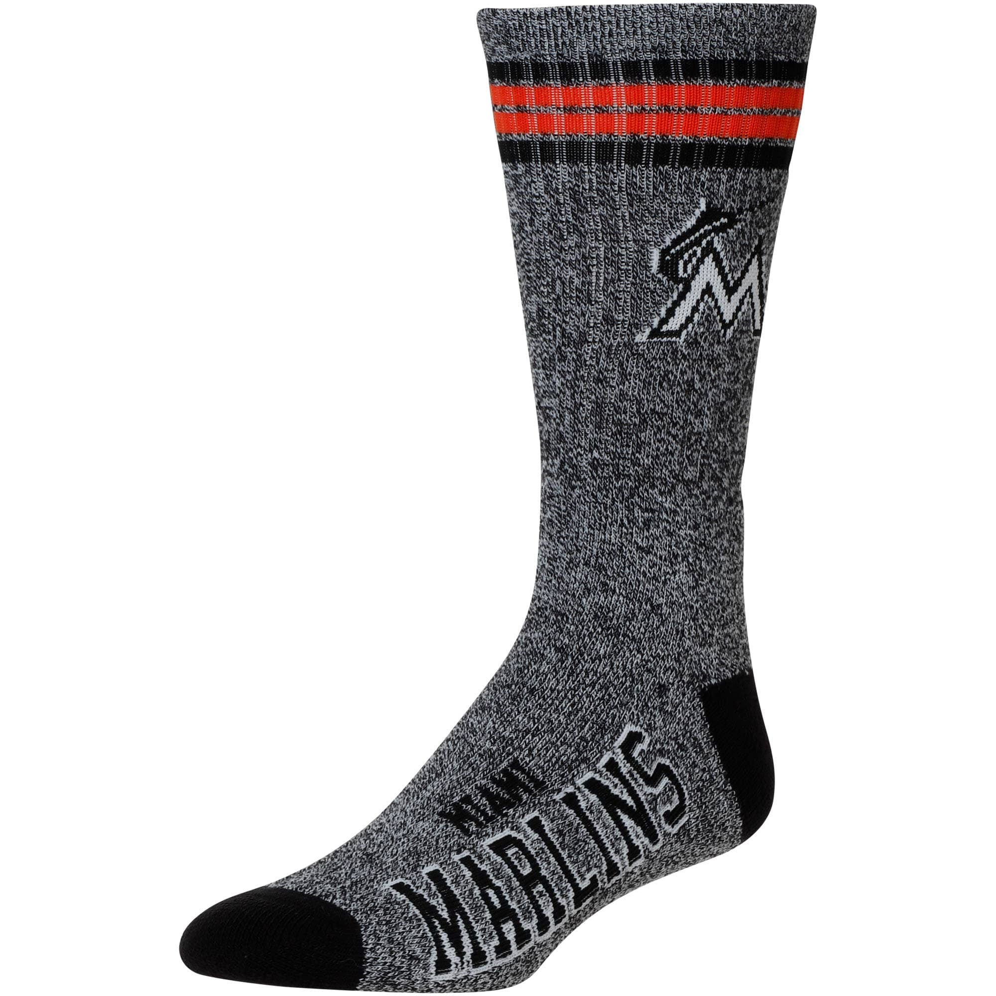 Miami Marlins For Bare Feet Got Marble Crew Socks - Gray