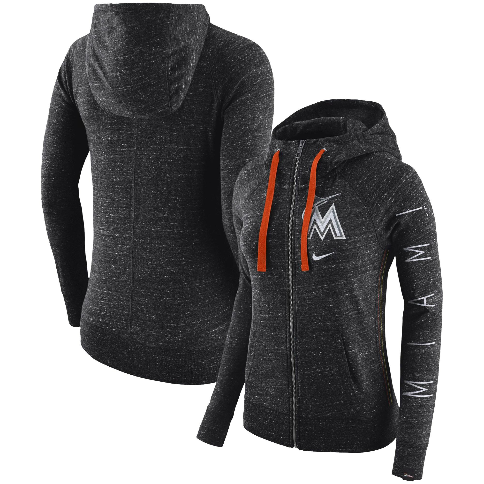 Miami Marlins Nike Women's Vintage Full-Zip Hoodie - Black