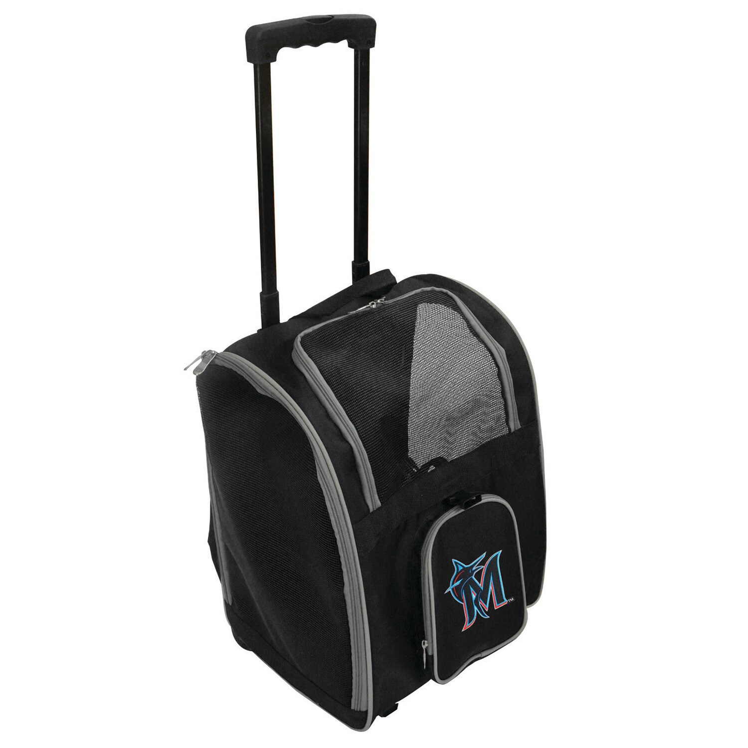 Miami Marlins 2-Wheeled Roller Pet Carrier - Black