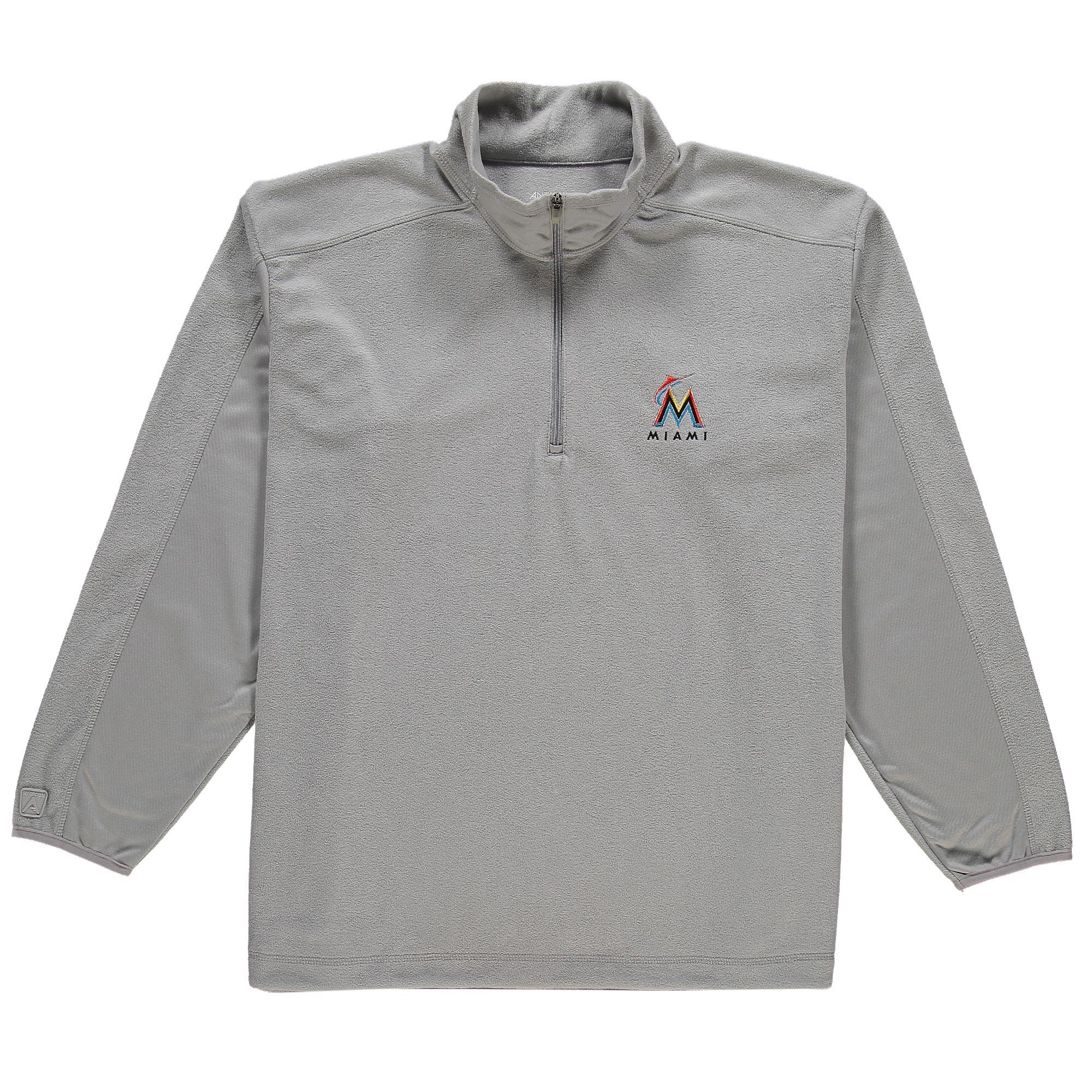 Miami Marlins Antigua Frost Micro Fleece Quarter-Zip Jacket - Silver