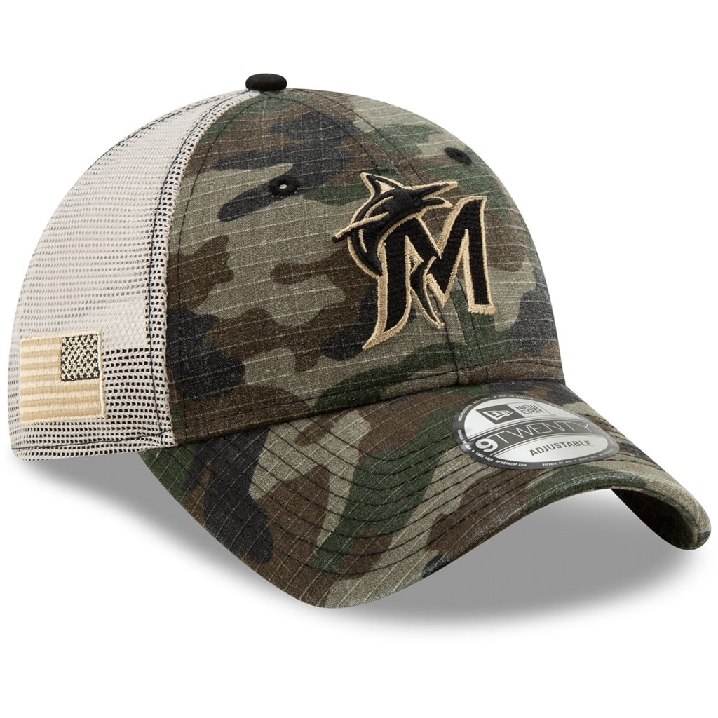 Miami Marlins New Era Honor Trucker 9TWENTY Adjustable Hat - Camo