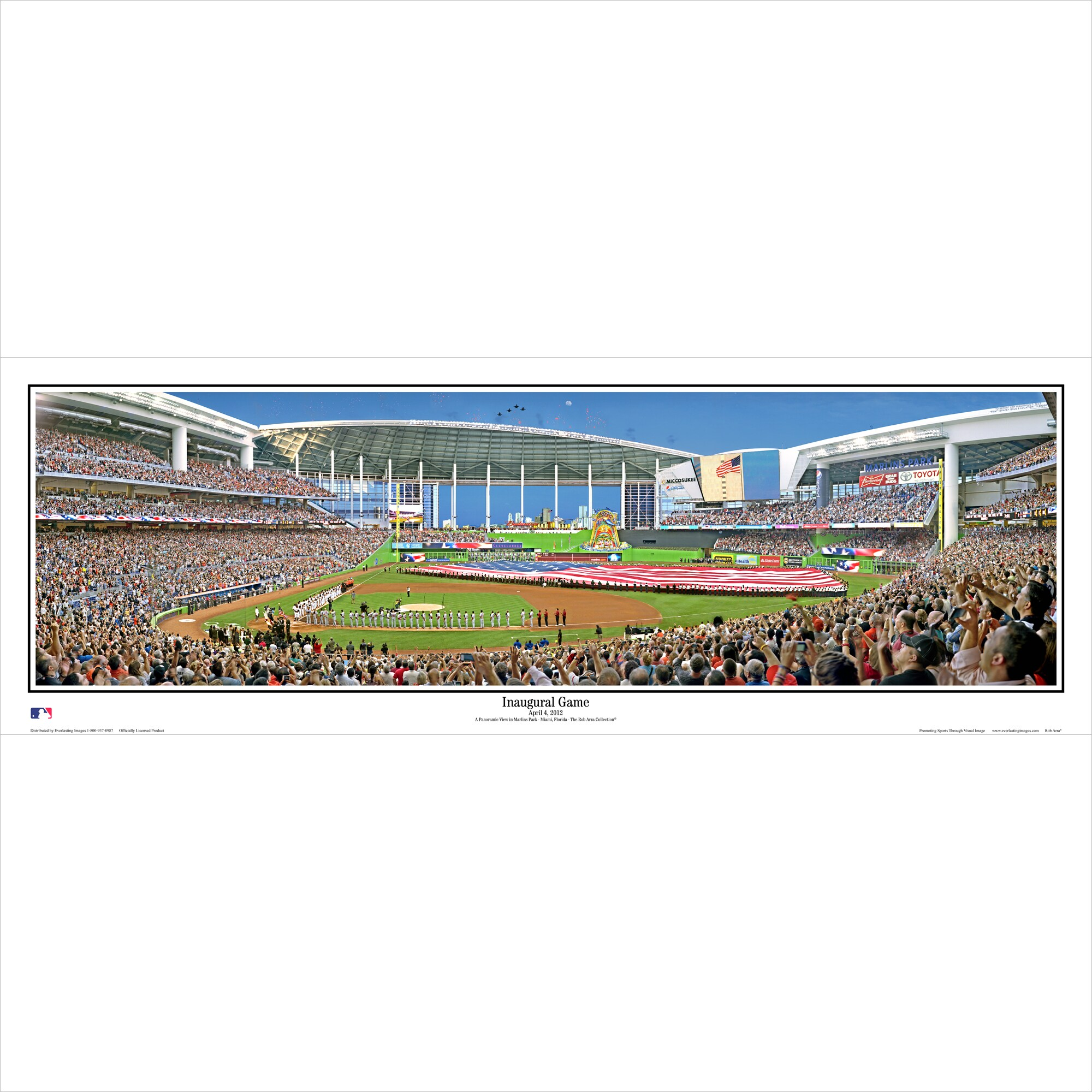 "Miami Marlins 39"" x 13.5"" Inaugural Game Standard Black Framed Panoramic"