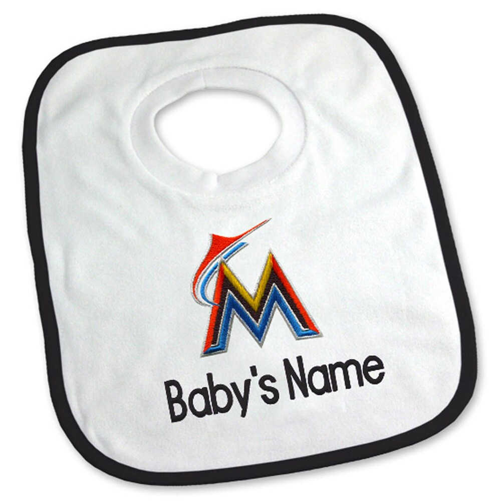 Miami Marlins Newborn & Infant Personalized Bib - White