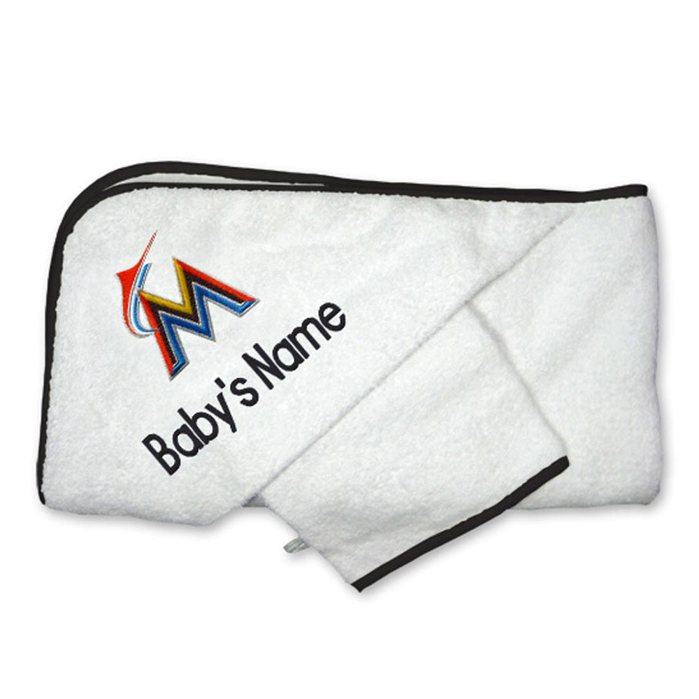 Miami Marlins Infant Personalized Hooded Towel & Mitt Set - White