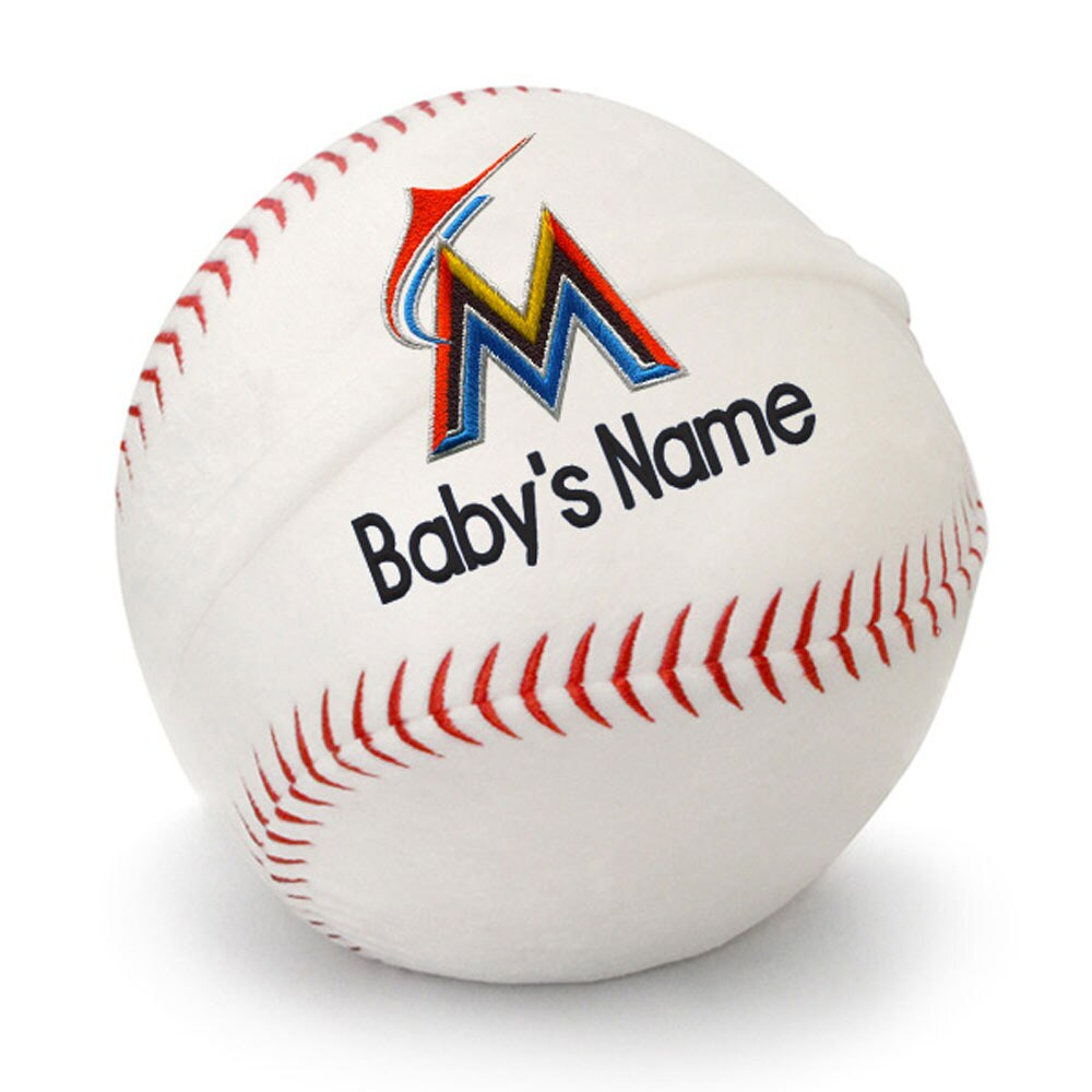 Miami Marlins Personalized Plush Baby Baseball - White