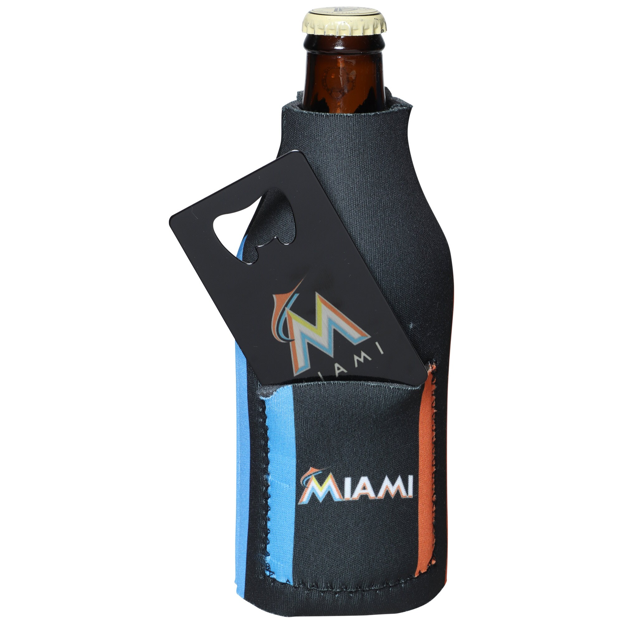 Miami Marlins Bottle Insulator with Pocket & Opener
