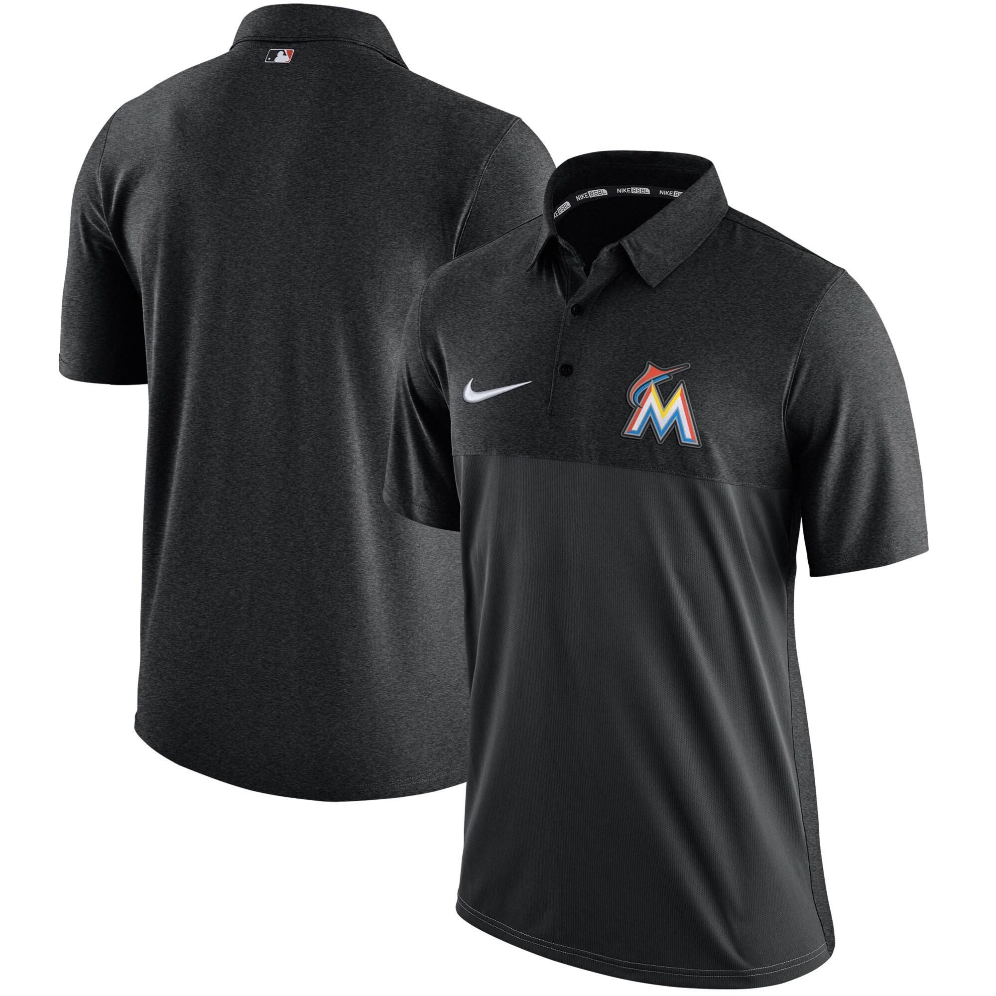Miami Marlins Nike Authentic Collection Elite Polo - Black
